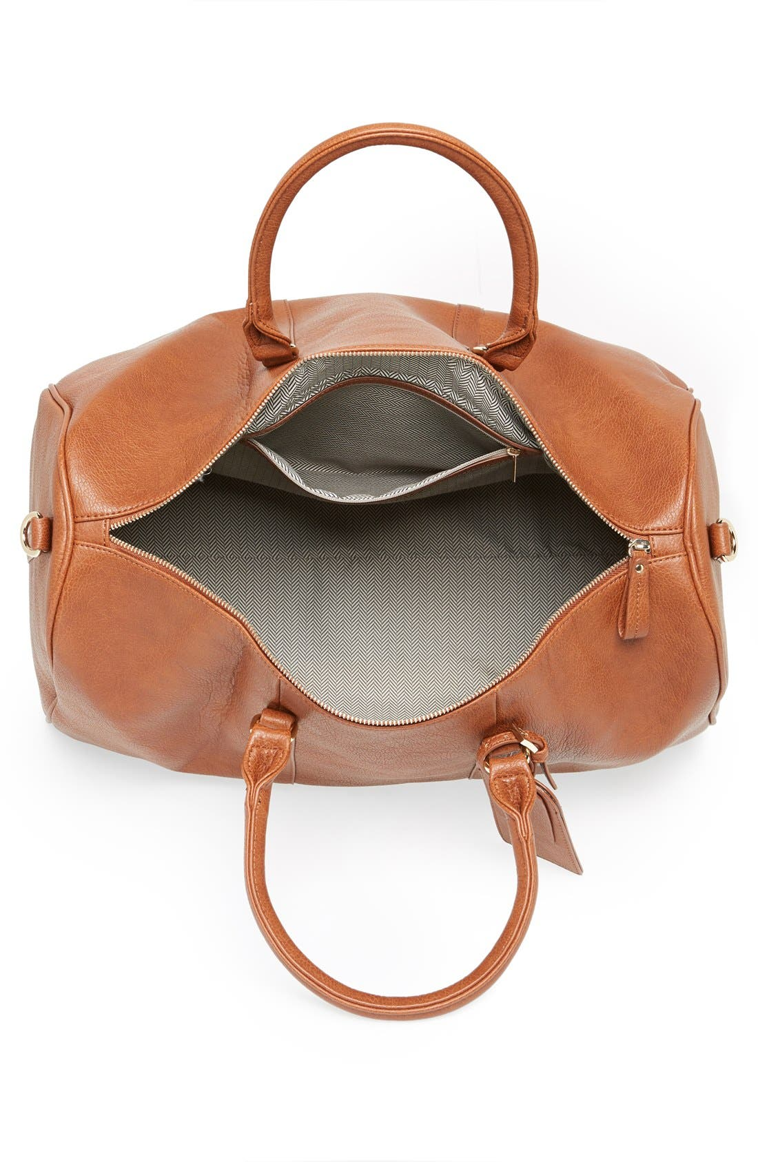 'Lacie' Faux Leather Duffel Bag,                             Alternate thumbnail 4, color,                             BROWN