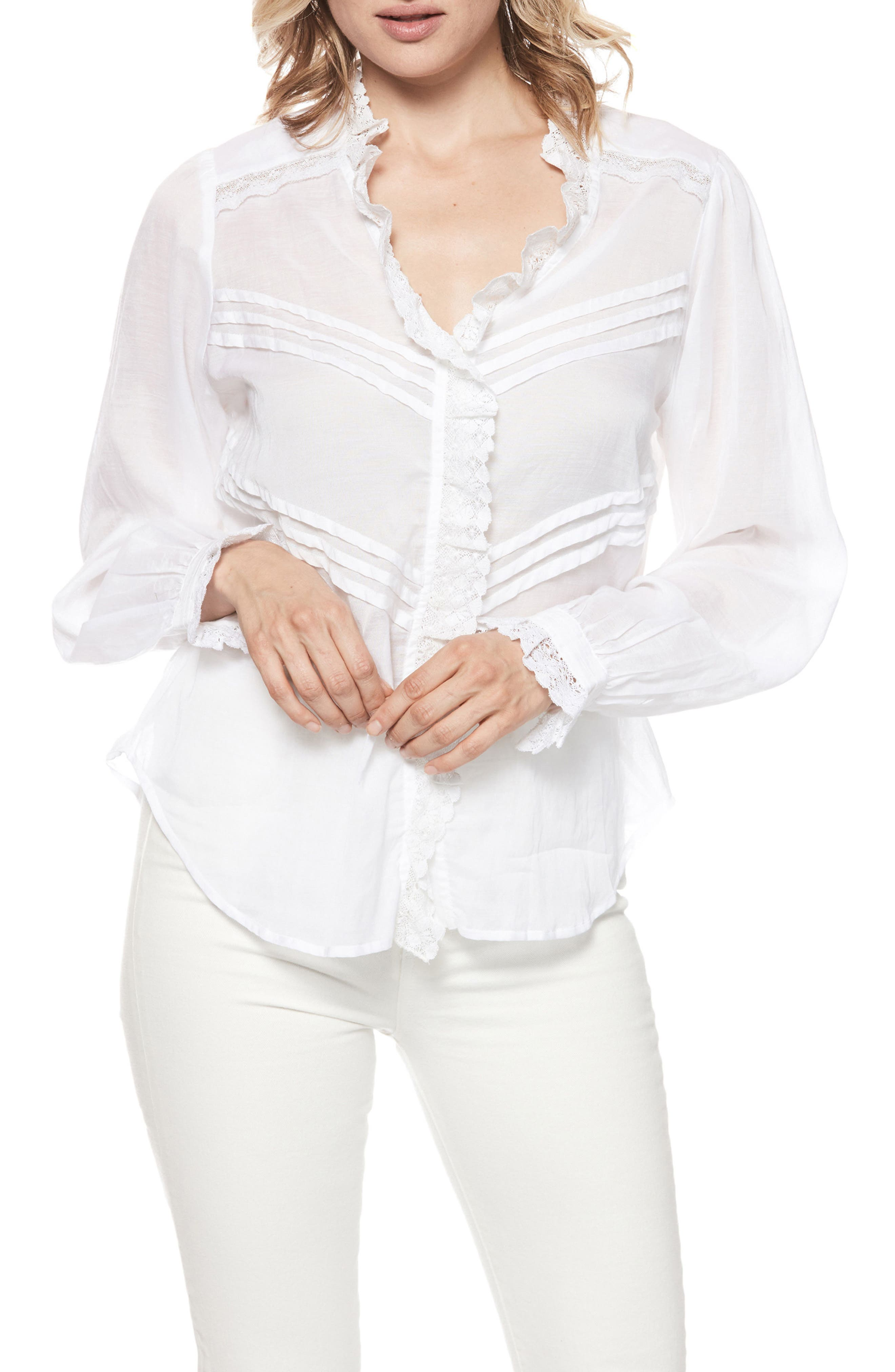 Alina Lace Trim Blouse,                             Main thumbnail 1, color,                             100