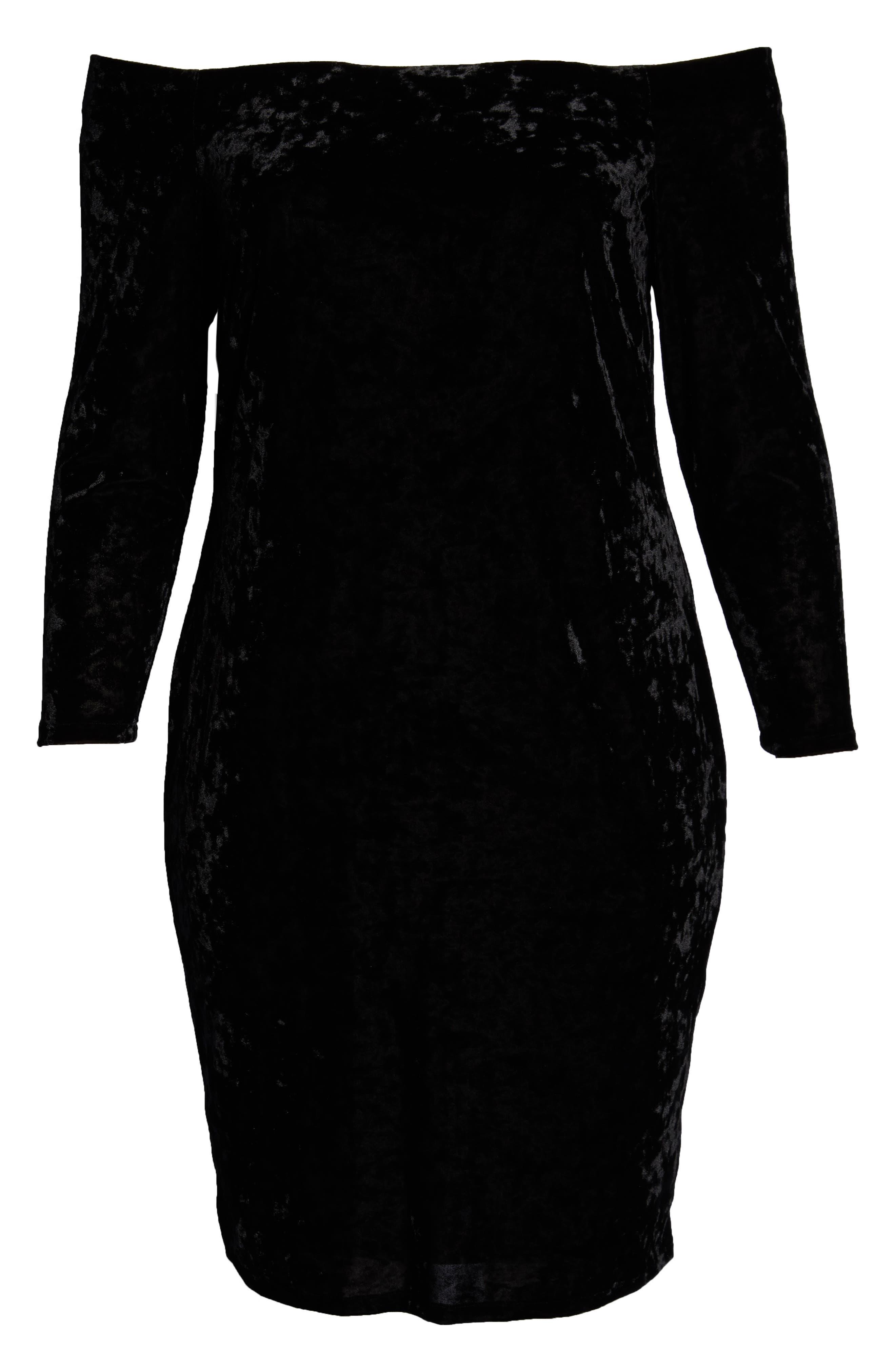 Off the Shoulder Sheath Dress,                             Alternate thumbnail 7, color,                             BLACK