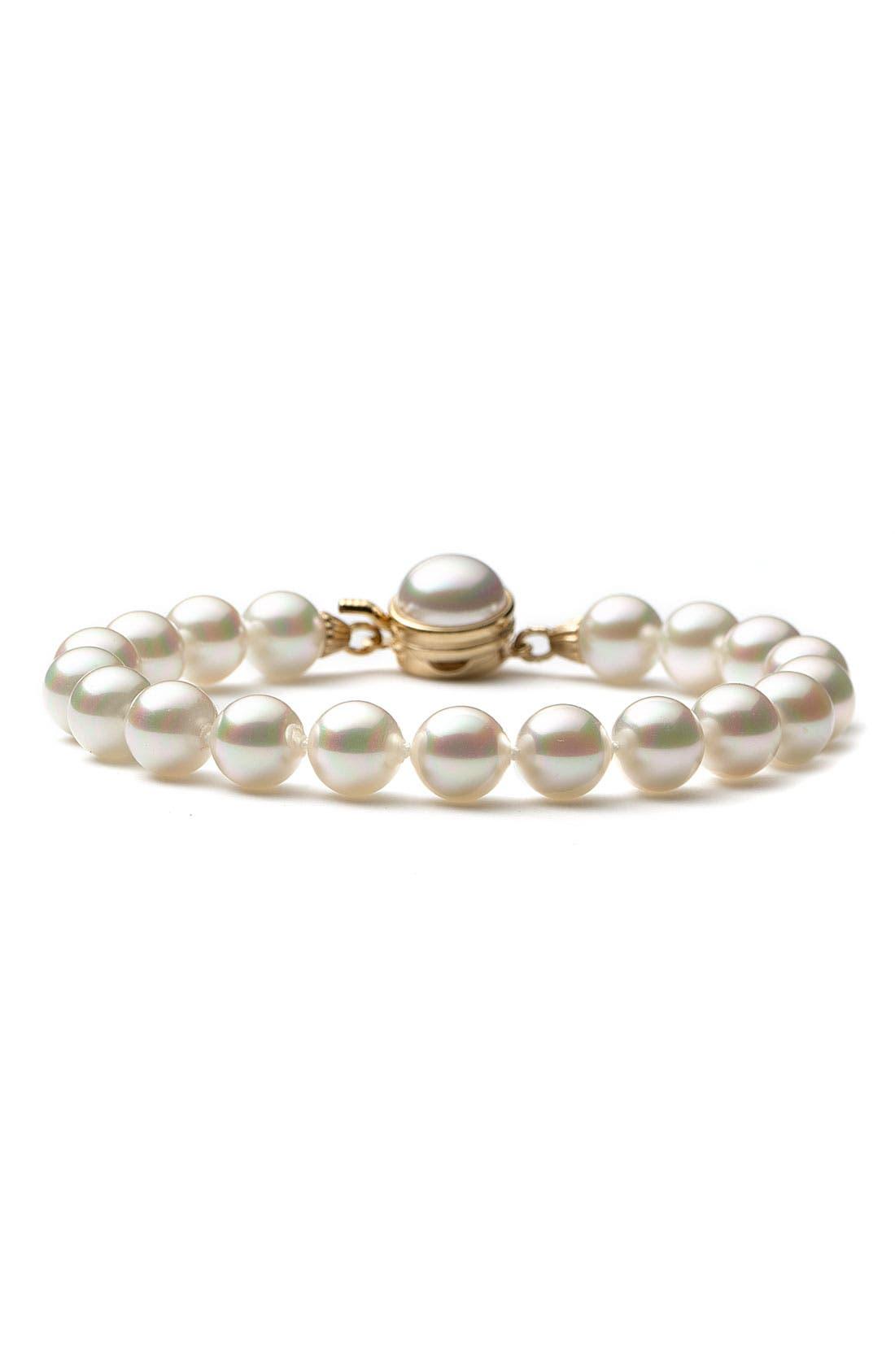 8mm Single Row Pearl Bracelet,                             Alternate thumbnail 3, color,                             WHITE/ GOLD