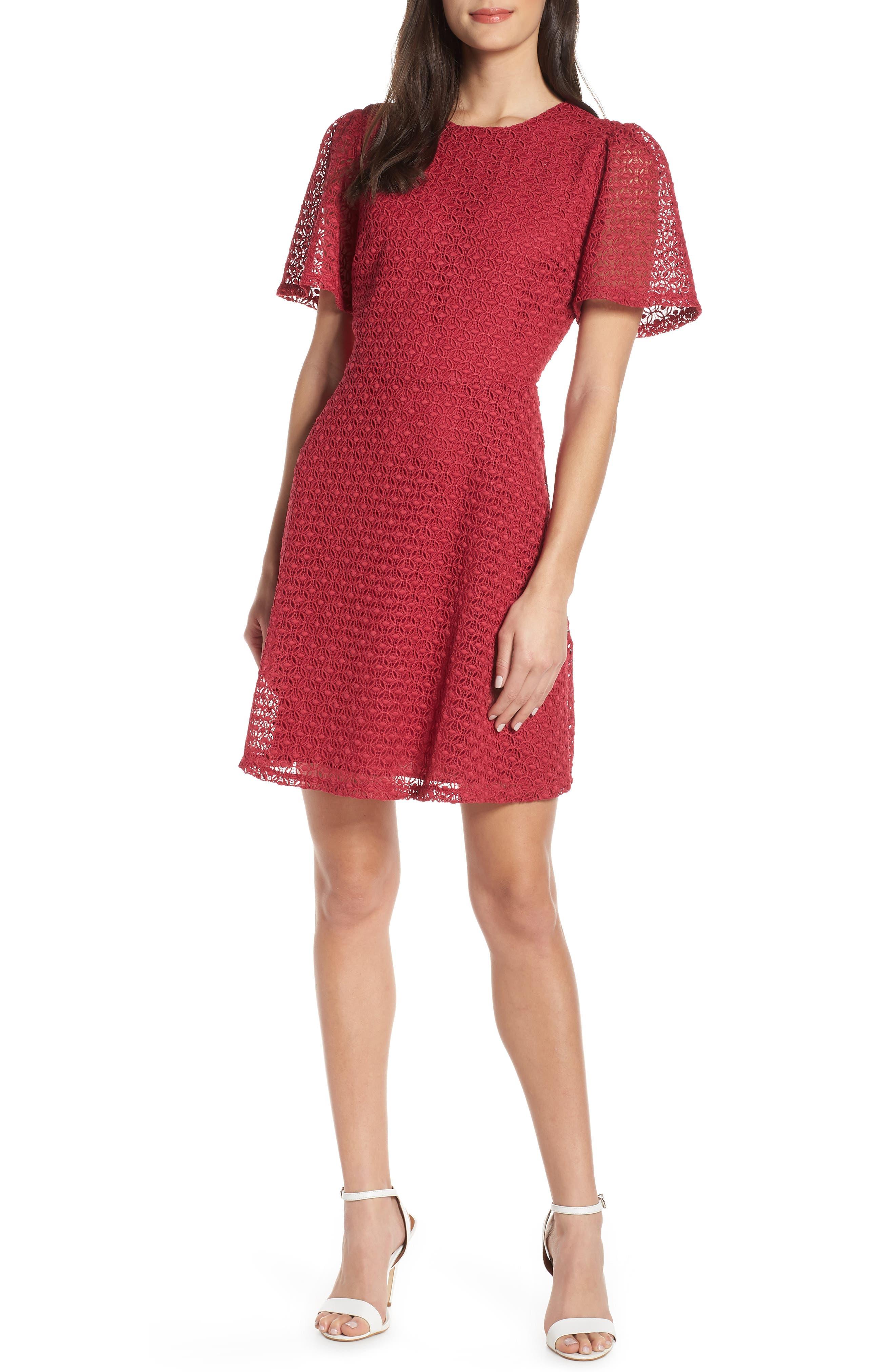 Chelsea28 Geo Lace Dress, Pink