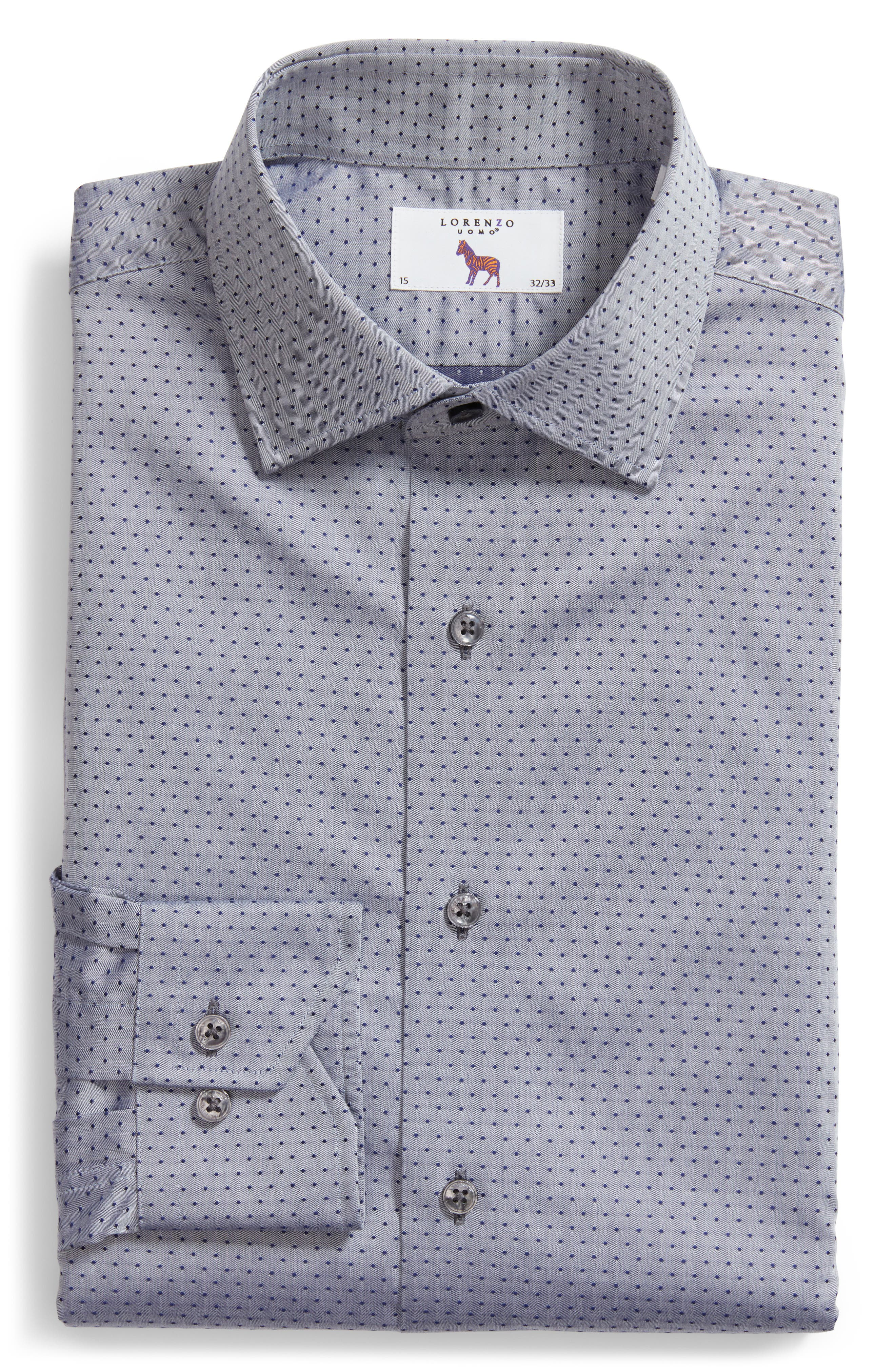 Pin Dot Dress Shirt,                             Alternate thumbnail 5, color,                             NAVY/ GREY