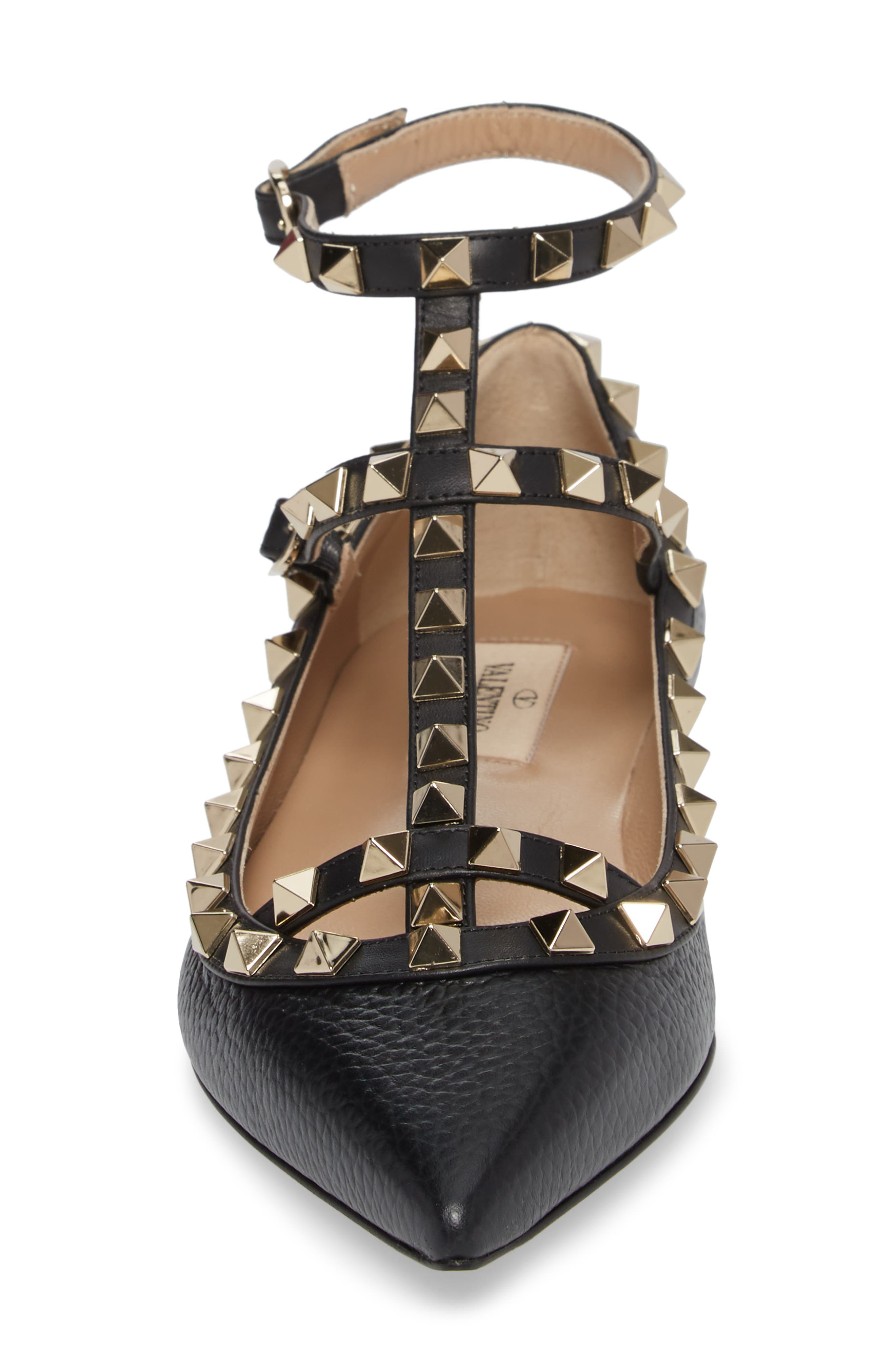 Rockstud Ankle Strap Pointy Toe Flat,                             Alternate thumbnail 4, color,                             001