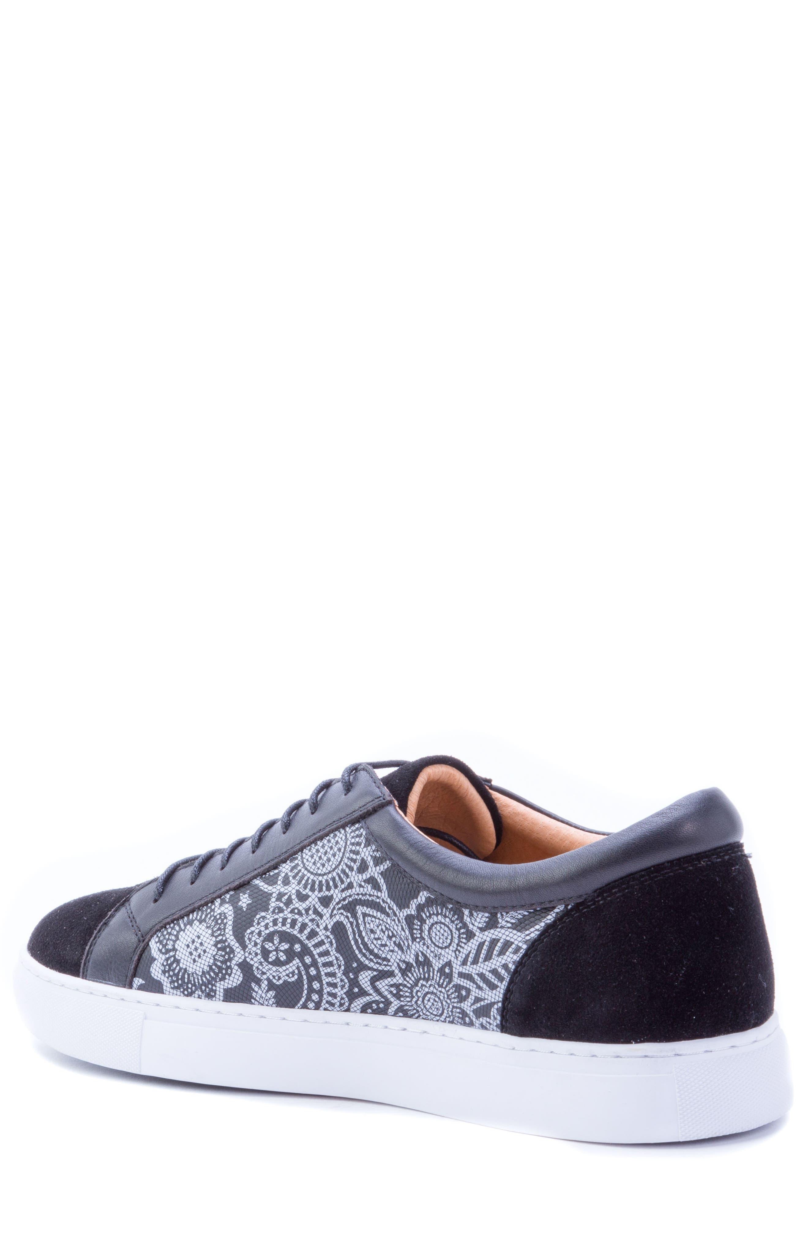 Rubio Floral Sneaker,                             Alternate thumbnail 2, color,                             BLACK SUEDE