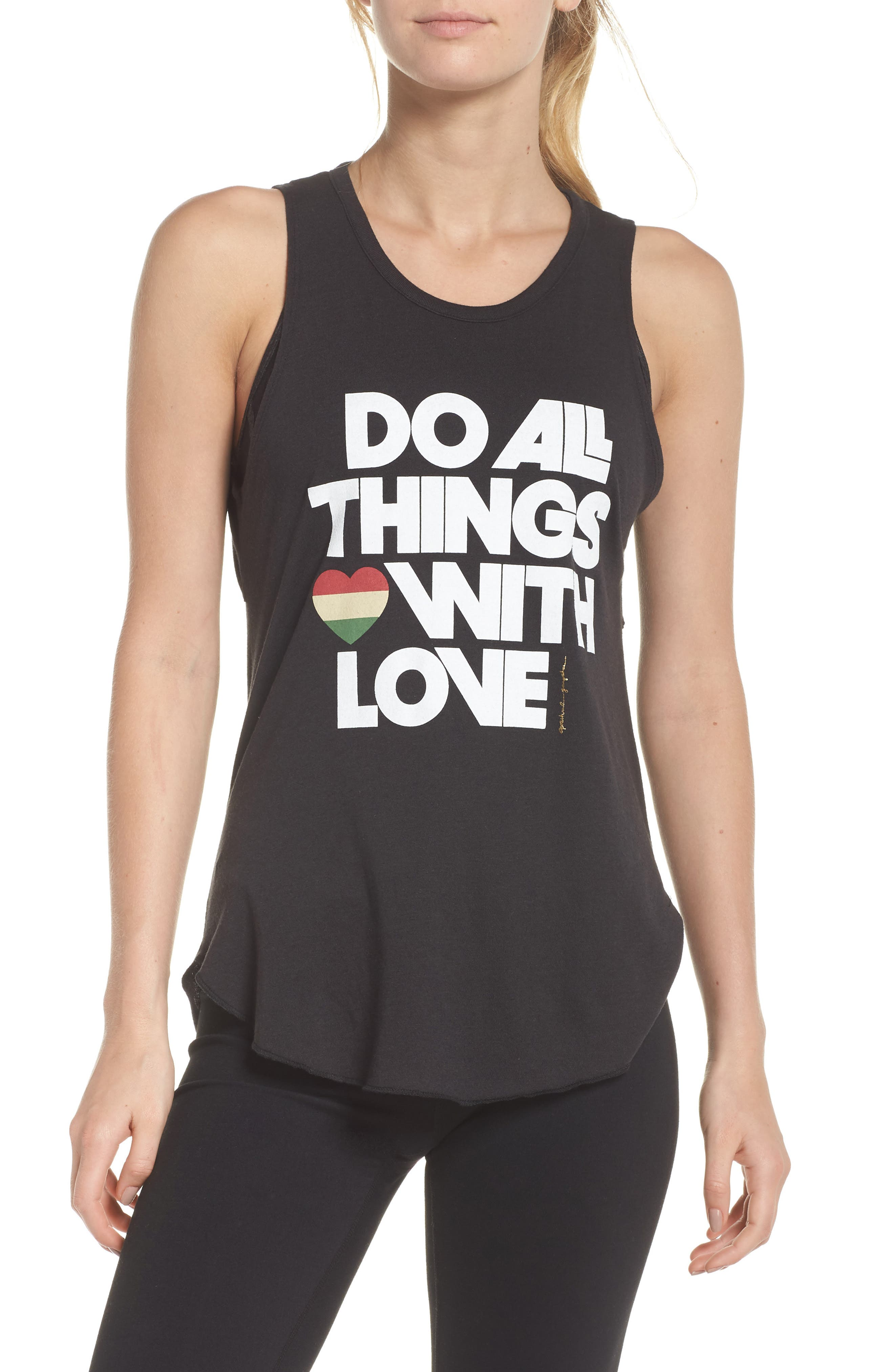 Do All Things with Love Open Back Tank,                         Main,                         color, VINTAGE BLACK