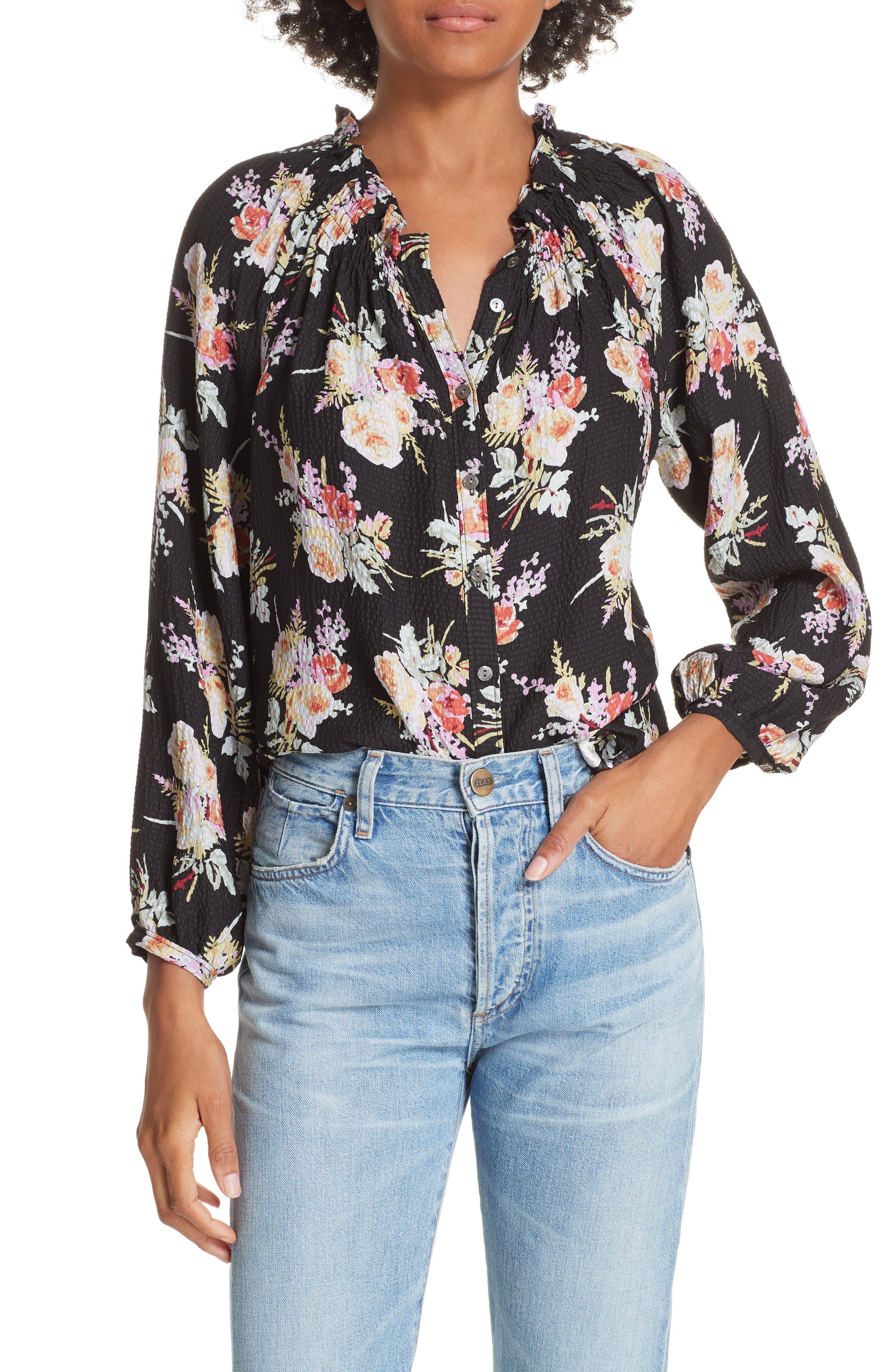 Floral Silk Blouse,                             Main thumbnail 1, color,                             BLACK COMBO