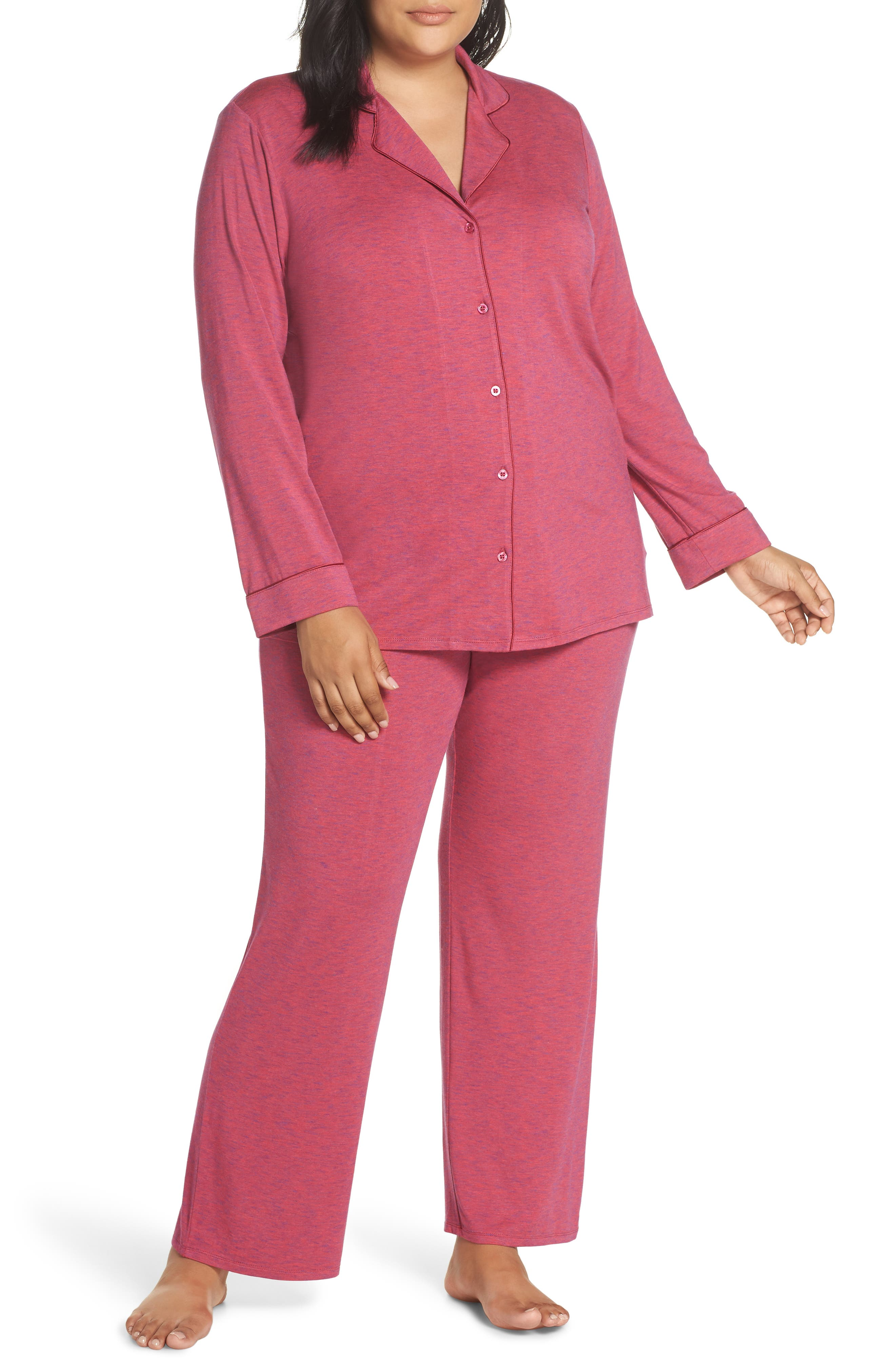'Moonlight' Pajamas, Main, color, BURGUNDY SPACEDYE