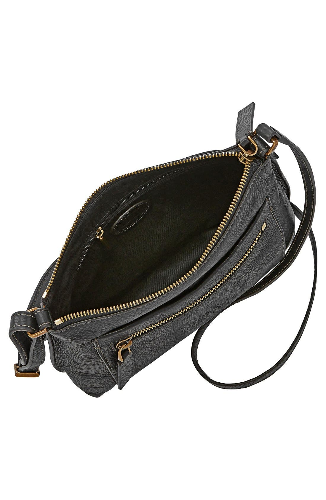 'Vickery' Leather Crossbody Bag,                             Alternate thumbnail 3, color,                             001