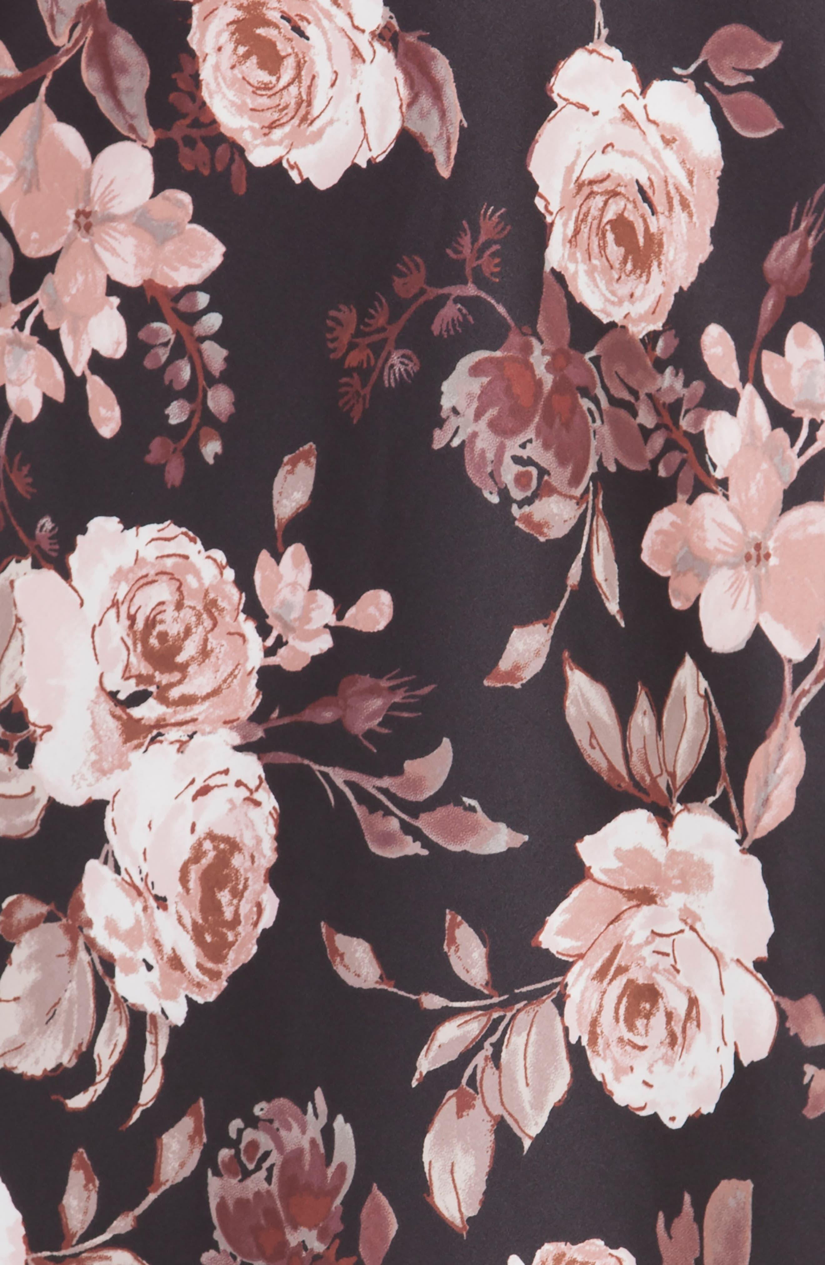 Floral Print Chemise,                             Alternate thumbnail 4, color,                             001