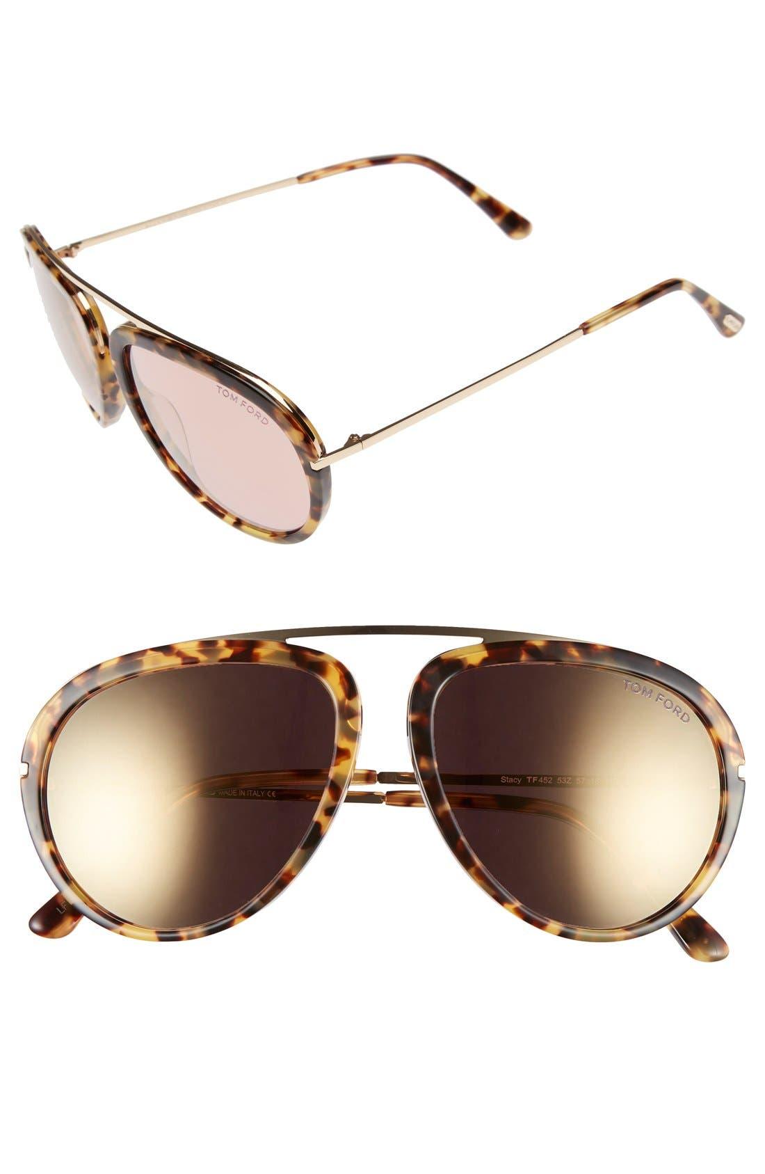 'Stacy' 57mm Aviator Sunglasses,                         Main,                         color, BLONDE HAVANA/ GRADIENT