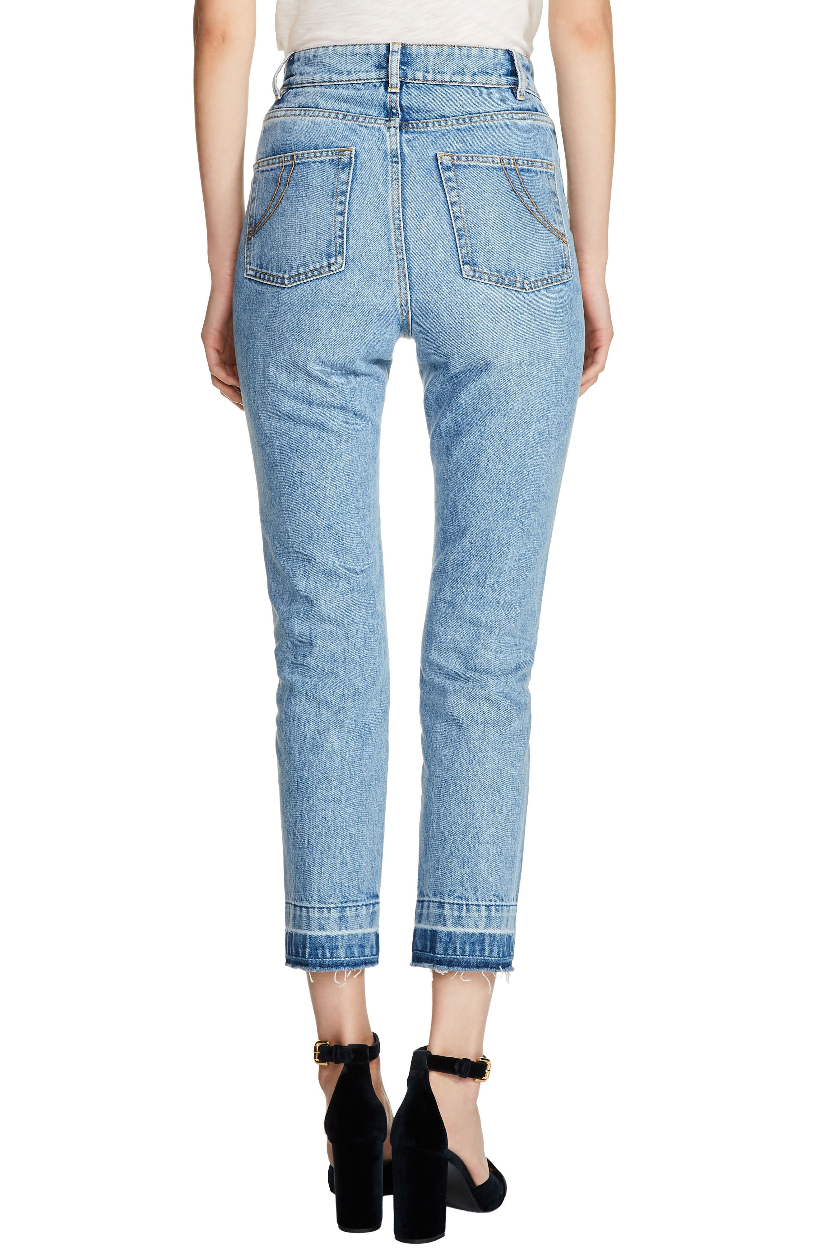 High Waist Straight Crop Jeans,                             Alternate thumbnail 2, color,                             400