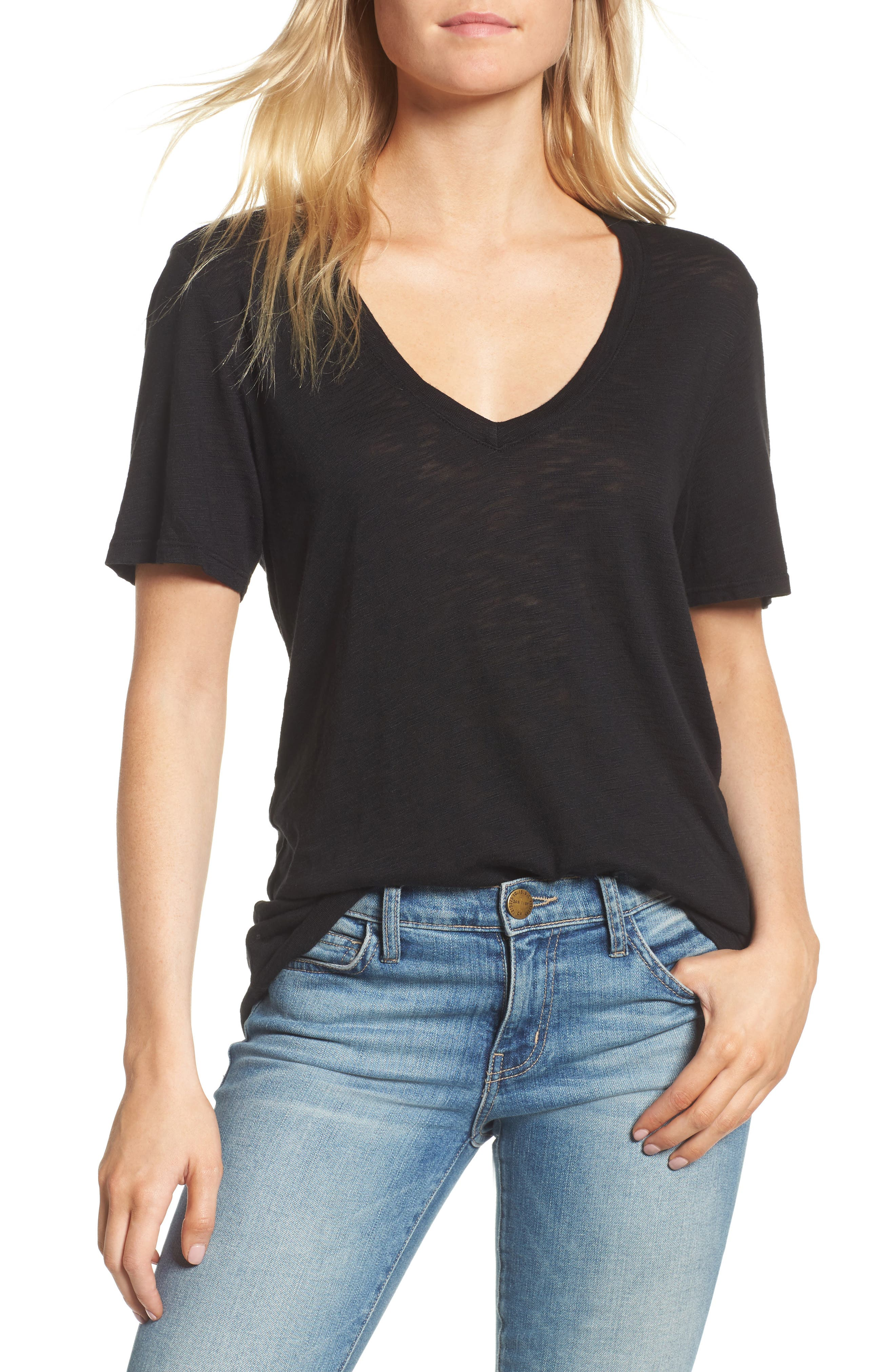 V-Neck Slub Jersey Tee,                         Main,                         color, BLACK