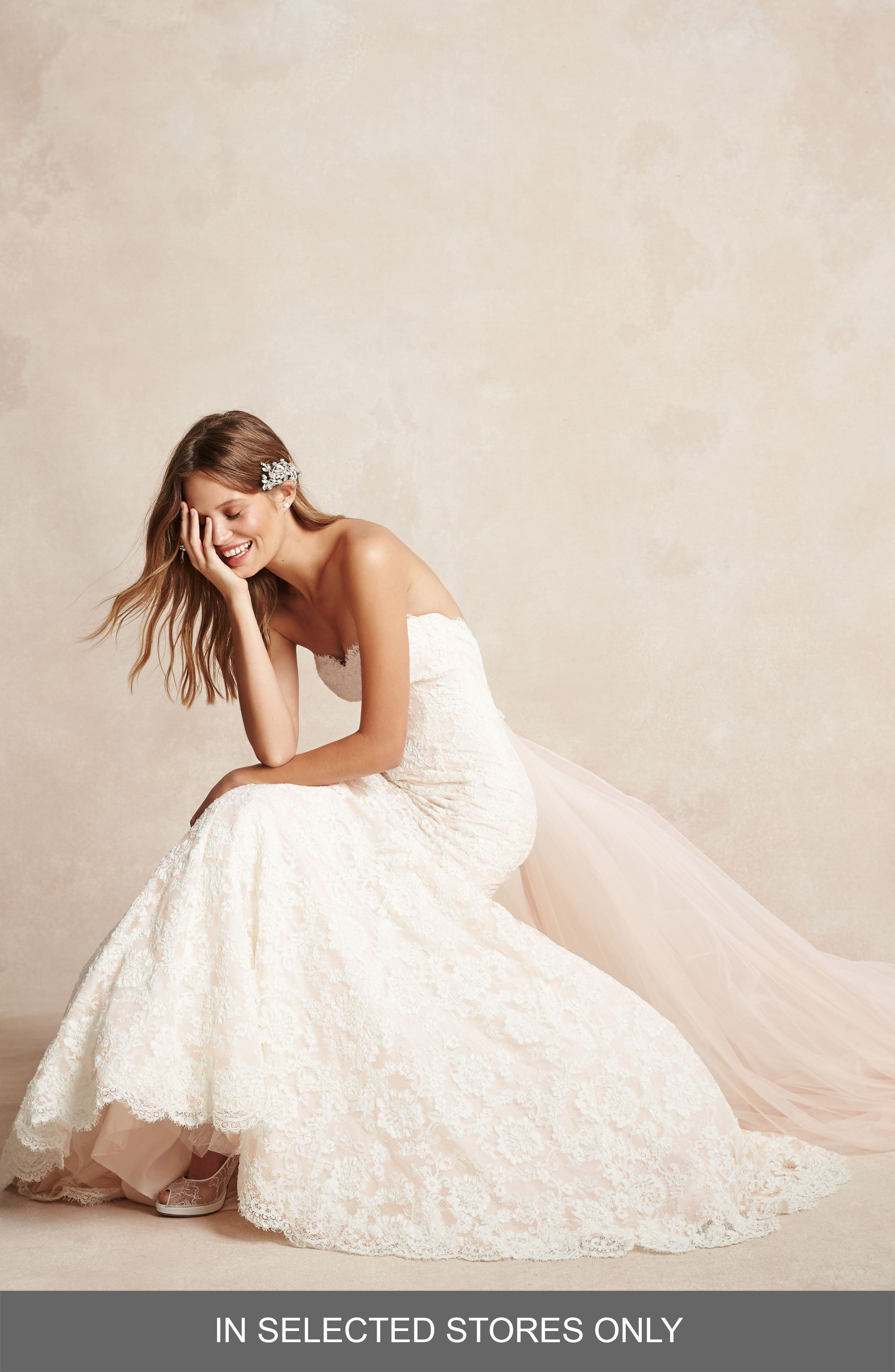 Strapless Lace Trumpet Gown,                         Main,                         color, IVORY/ BLUSH