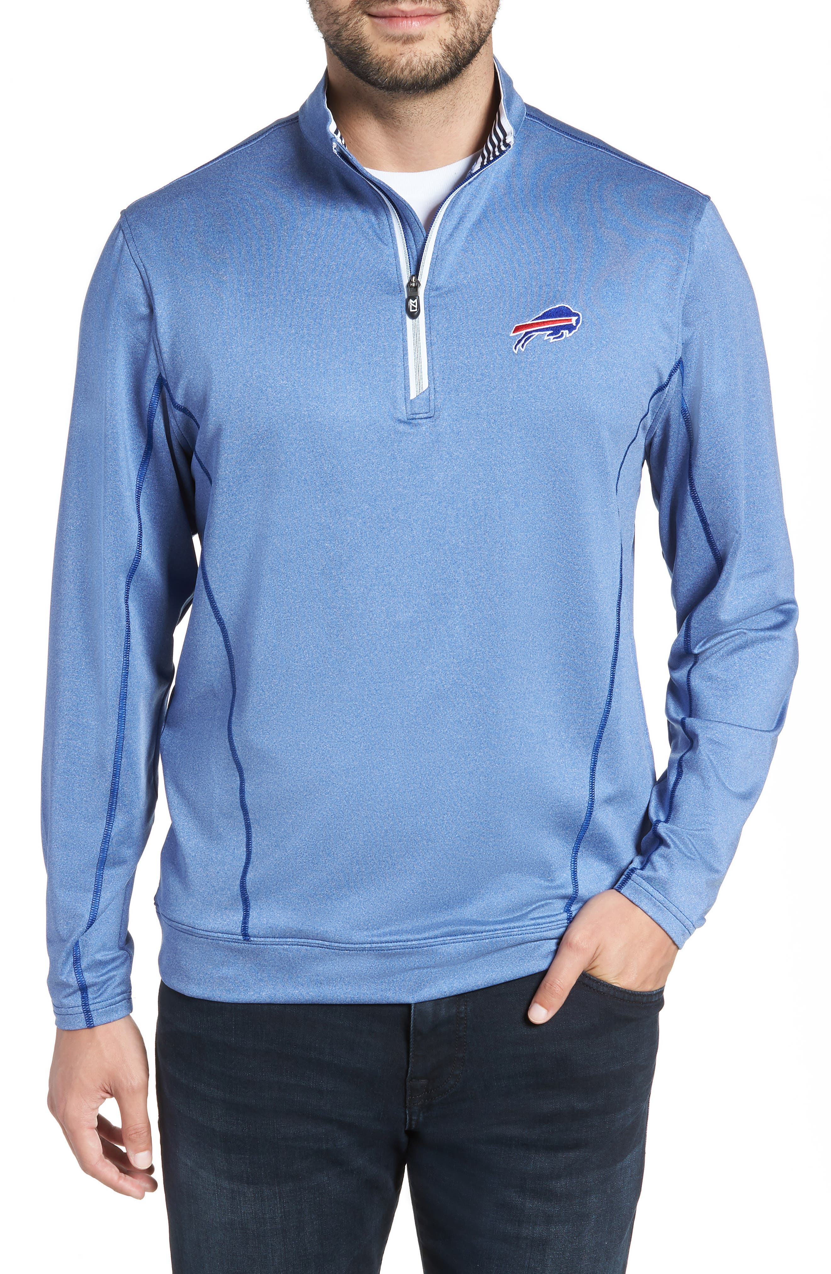 Endurance Buffalo Bills Regular Fit Pullover,                         Main,                         color, TOUR BLUE HEATHER