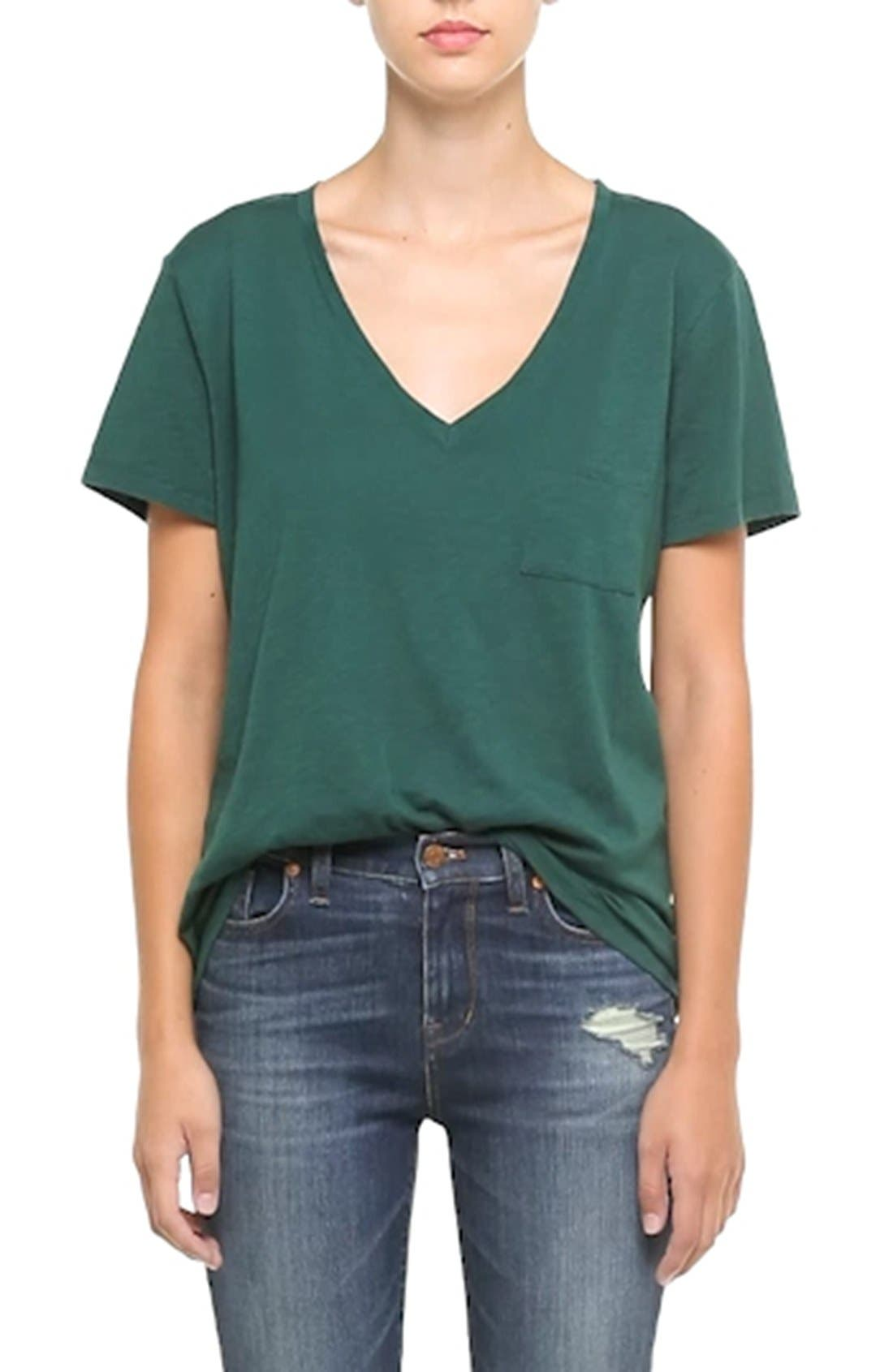 Whisper Cotton V-Neck Pocket Tee,                             Alternate thumbnail 102, color,