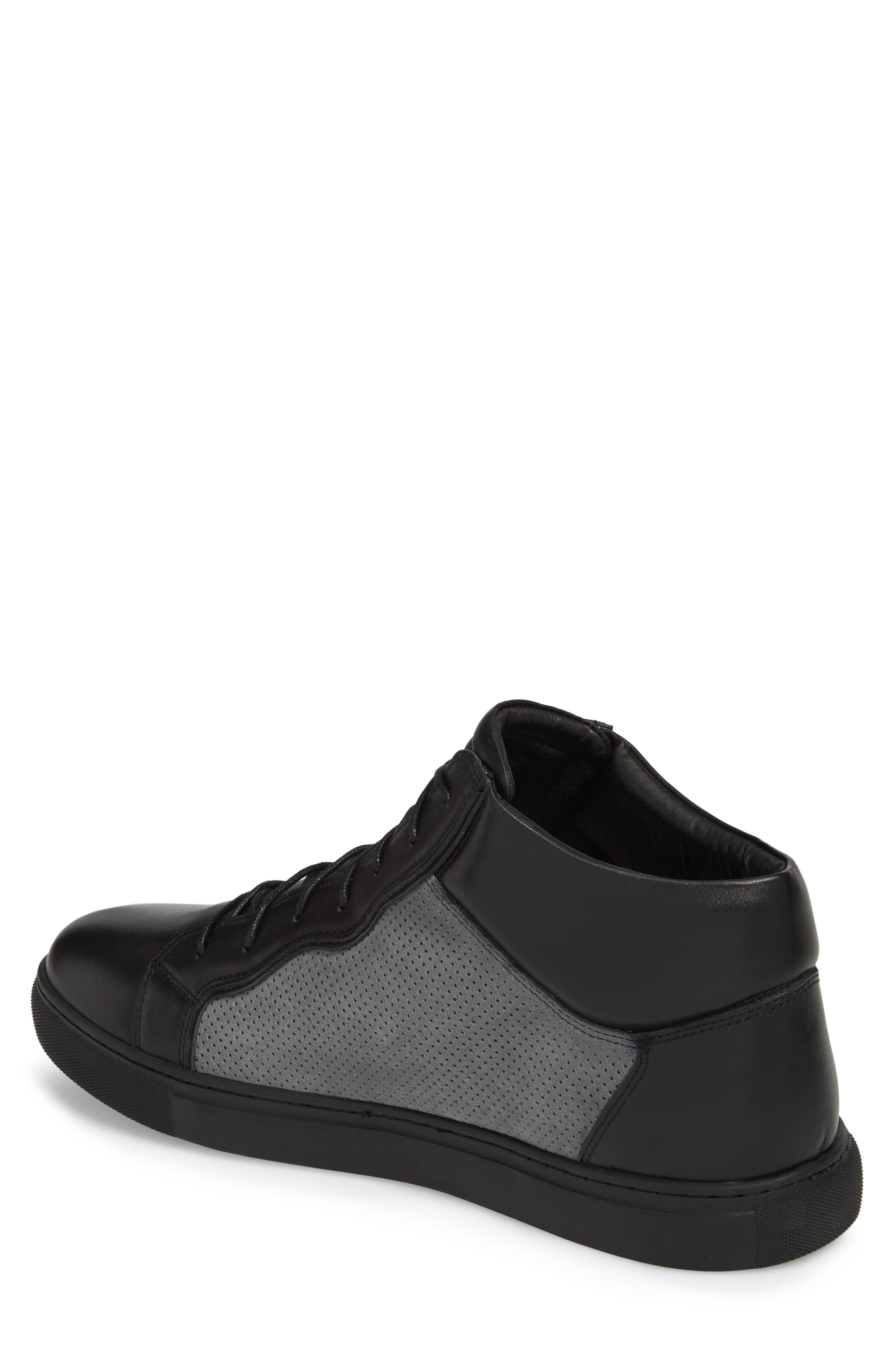 Twist Perforated High Top Sneaker,                             Alternate thumbnail 2, color,                             BLACK LEATHER/ SUEDE