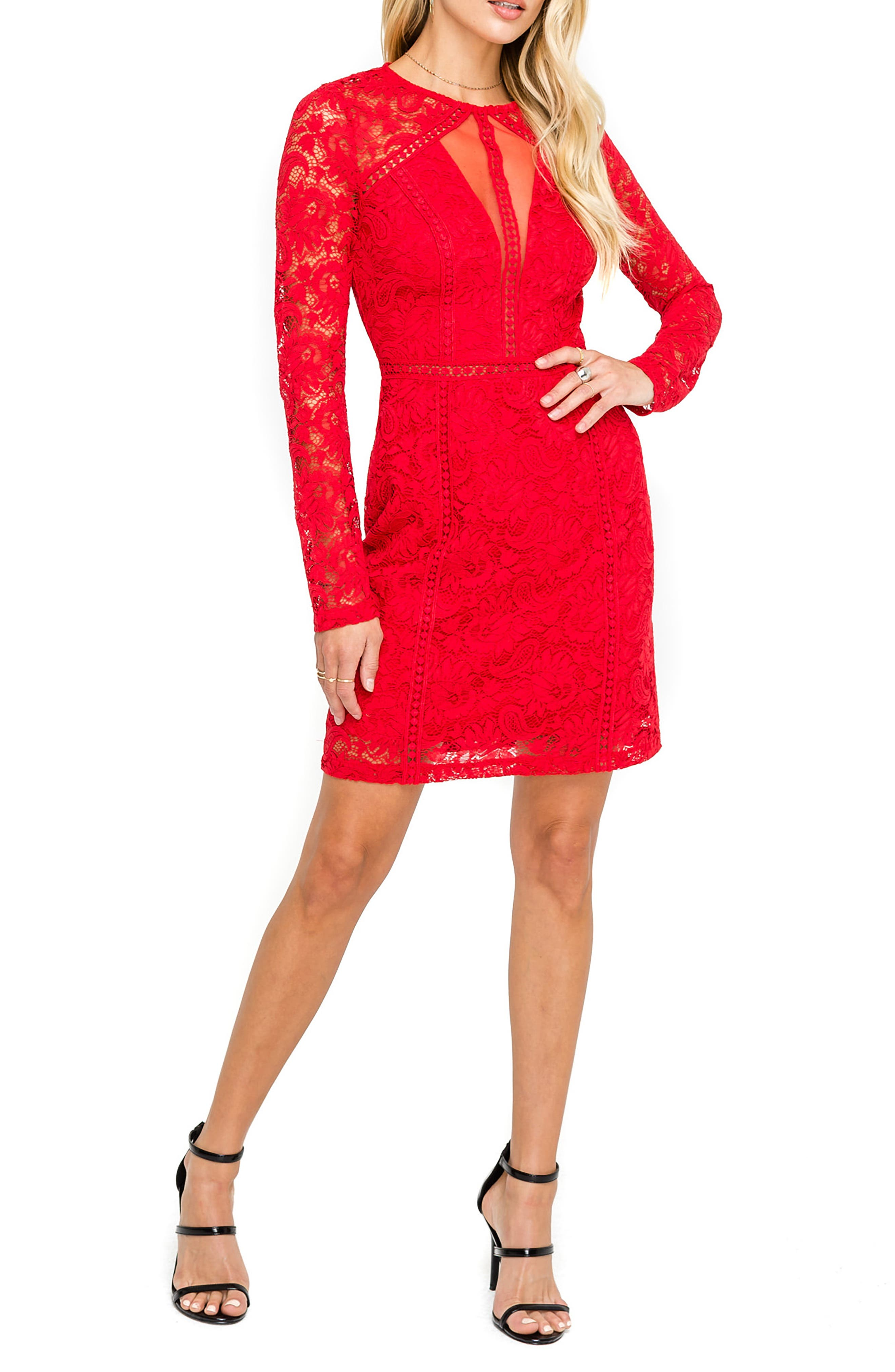 Astr The Label Lace Sheath Dress, Red