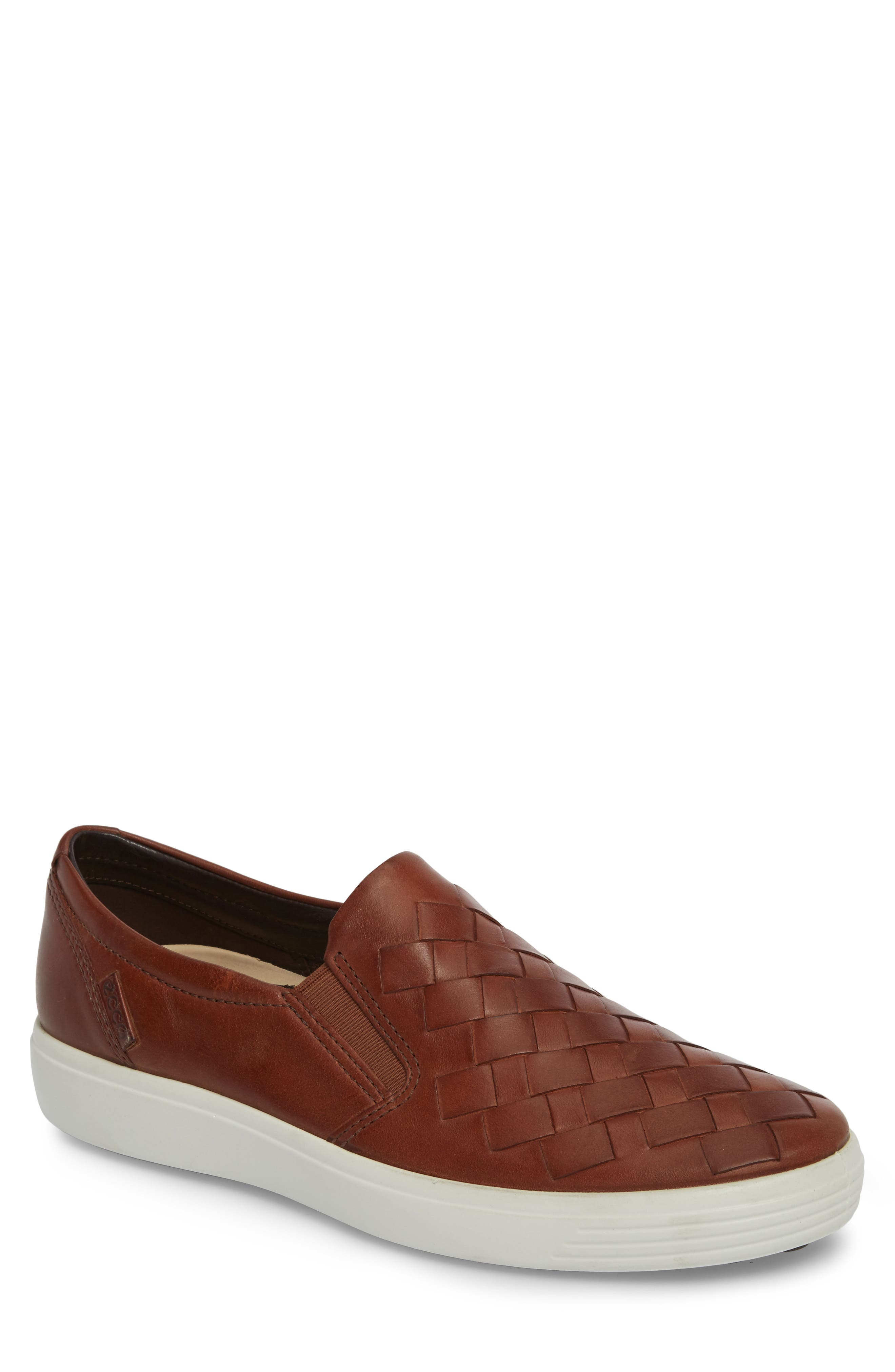 Soft 7 Woven Slip-On Sneaker,                             Main thumbnail 1, color,                             MAHOGANY LEATHER
