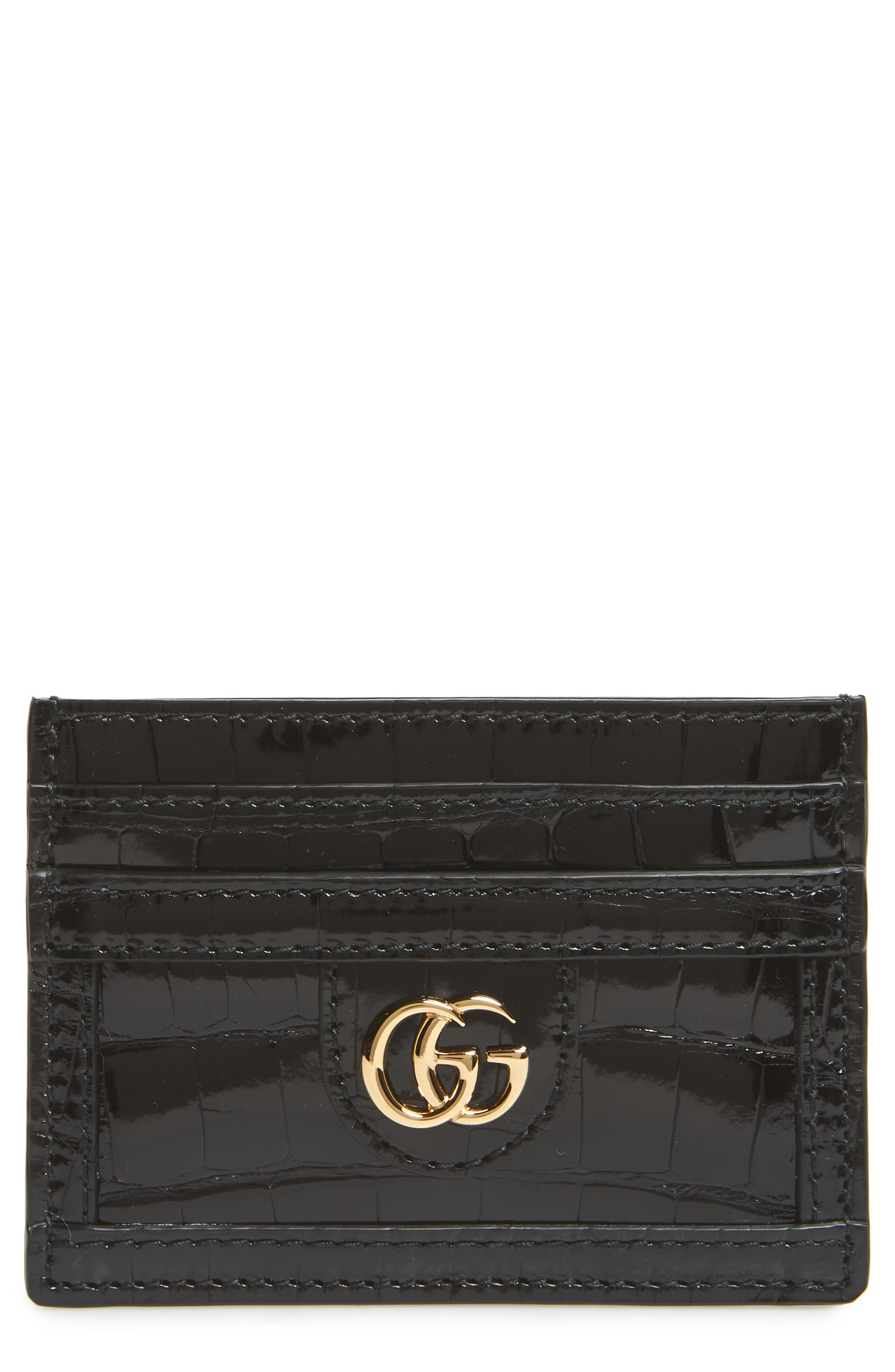 Ophidia Genuine Crocodile Card Case,                         Main,                         color, NERO
