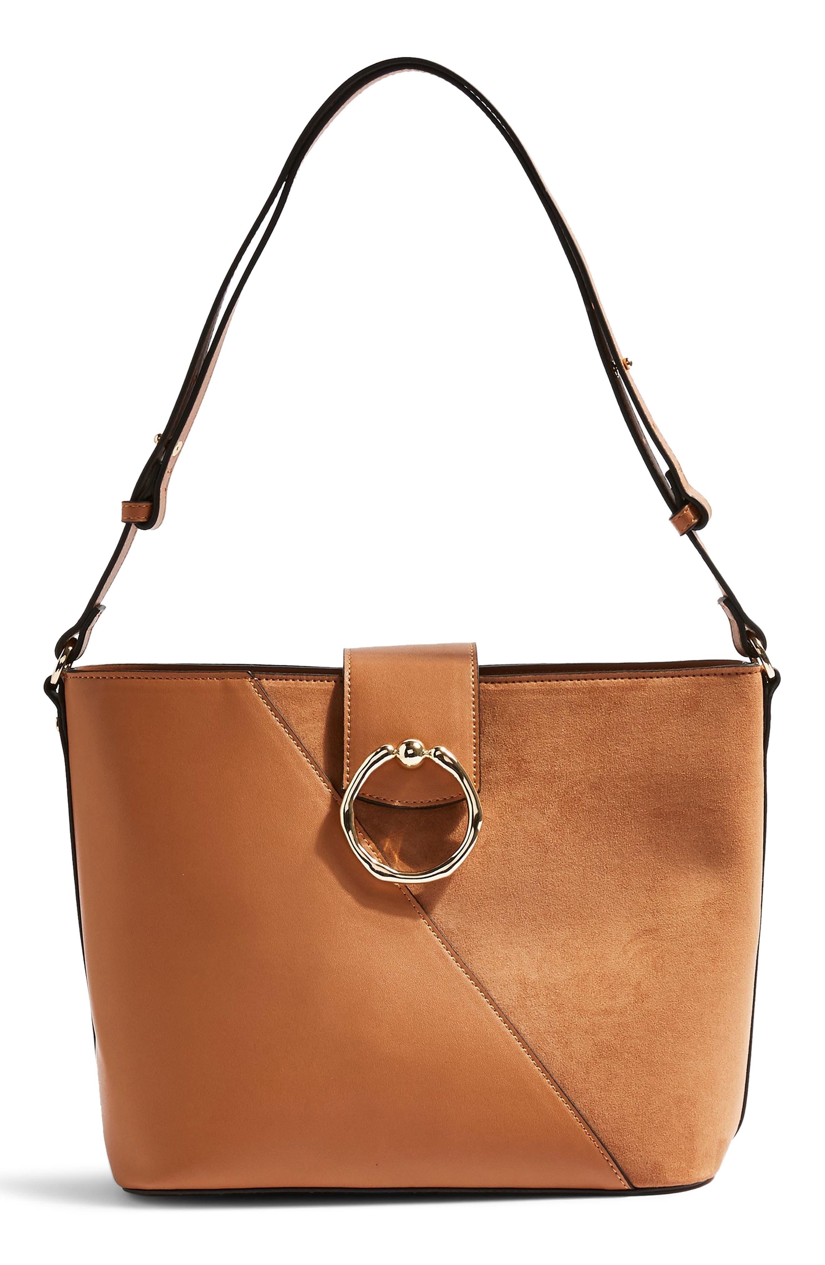 3d1fde00ea Topshop Spark Piece Faux Leather Hobo Bag - Brown