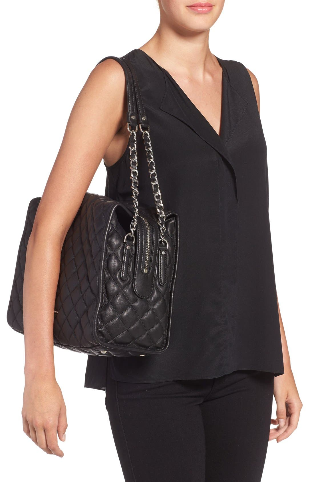 'Rachel - Large' Quilted Leather Satchel,                             Alternate thumbnail 5, color,                             001