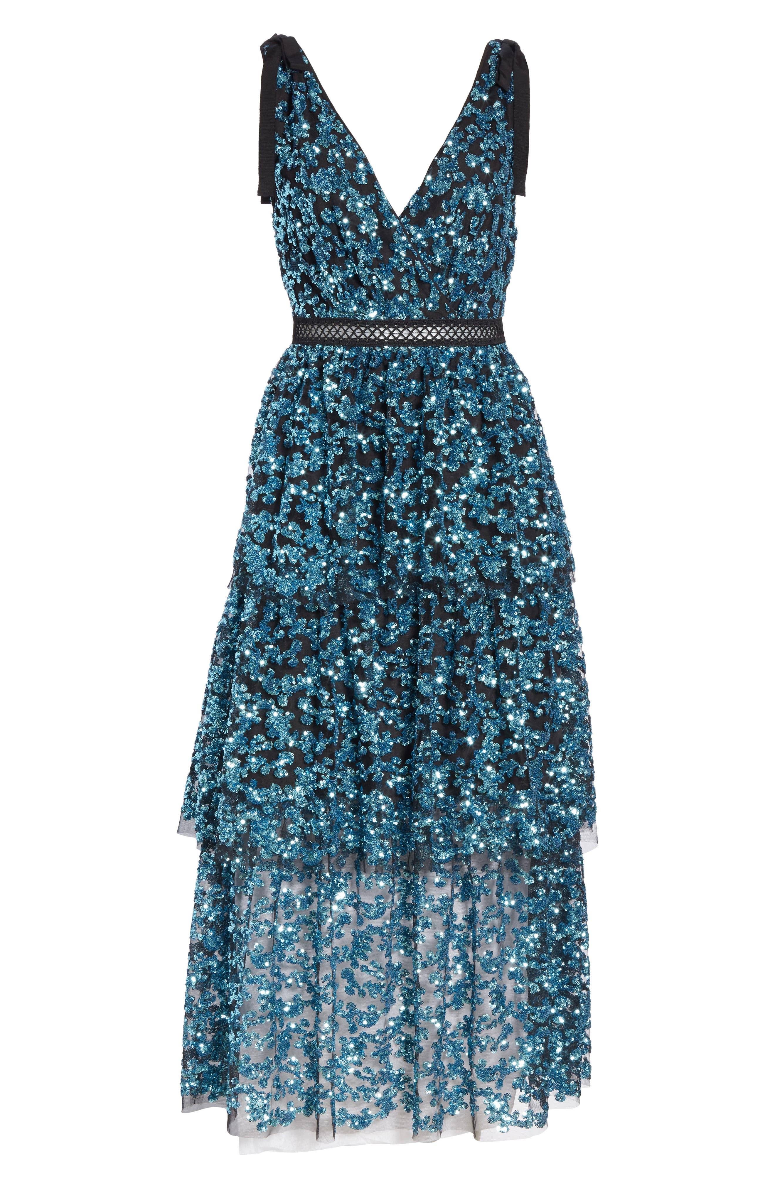 Tiered Sequined Midi Dress,                             Alternate thumbnail 6, color,                             BLUE