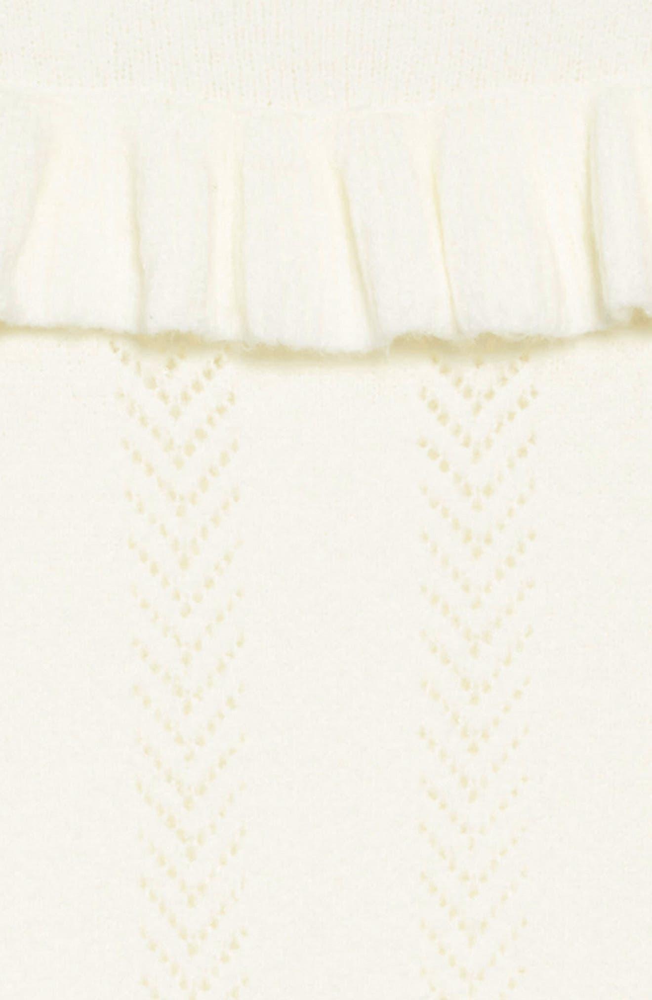 Pointelle Sweater Dress,                             Alternate thumbnail 3, color,                             IVORY EGRET