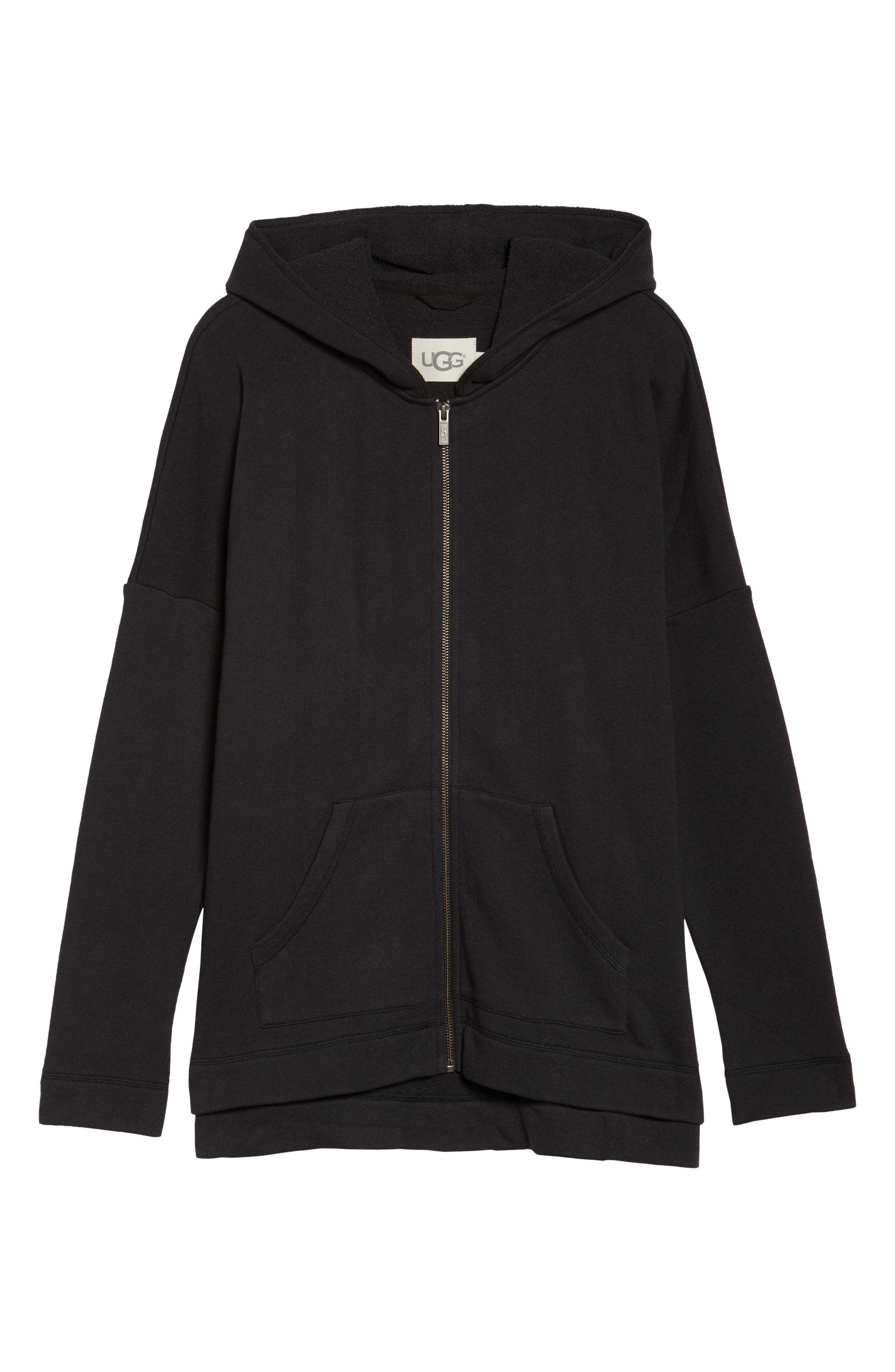 Pearl Oversize Hoodie,                             Alternate thumbnail 6, color,                             BLACK