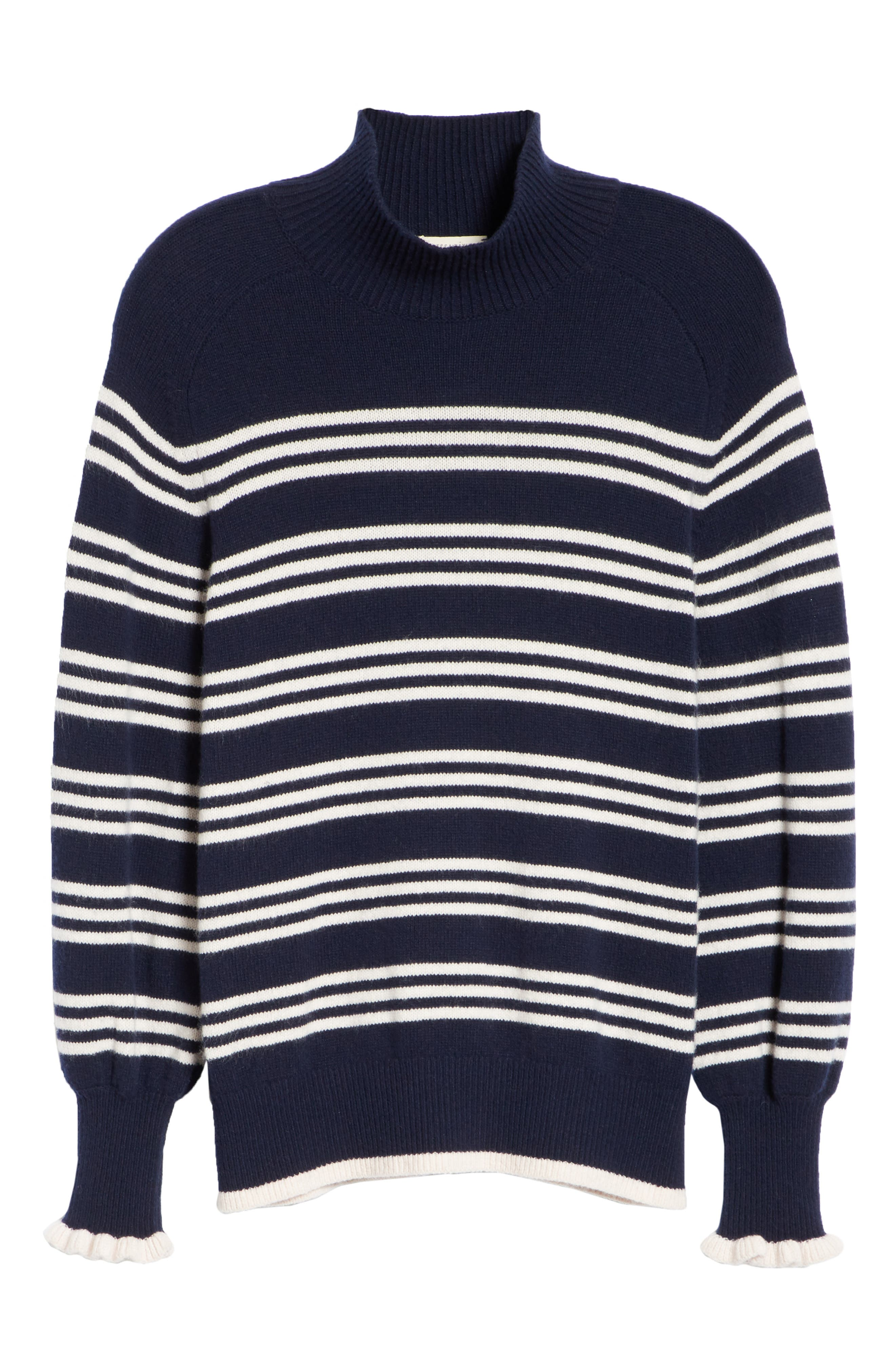 Striped Wool Cotton Blend Blouson Sleeve Sweater,                             Alternate thumbnail 6, color,                             NAVY COMBO