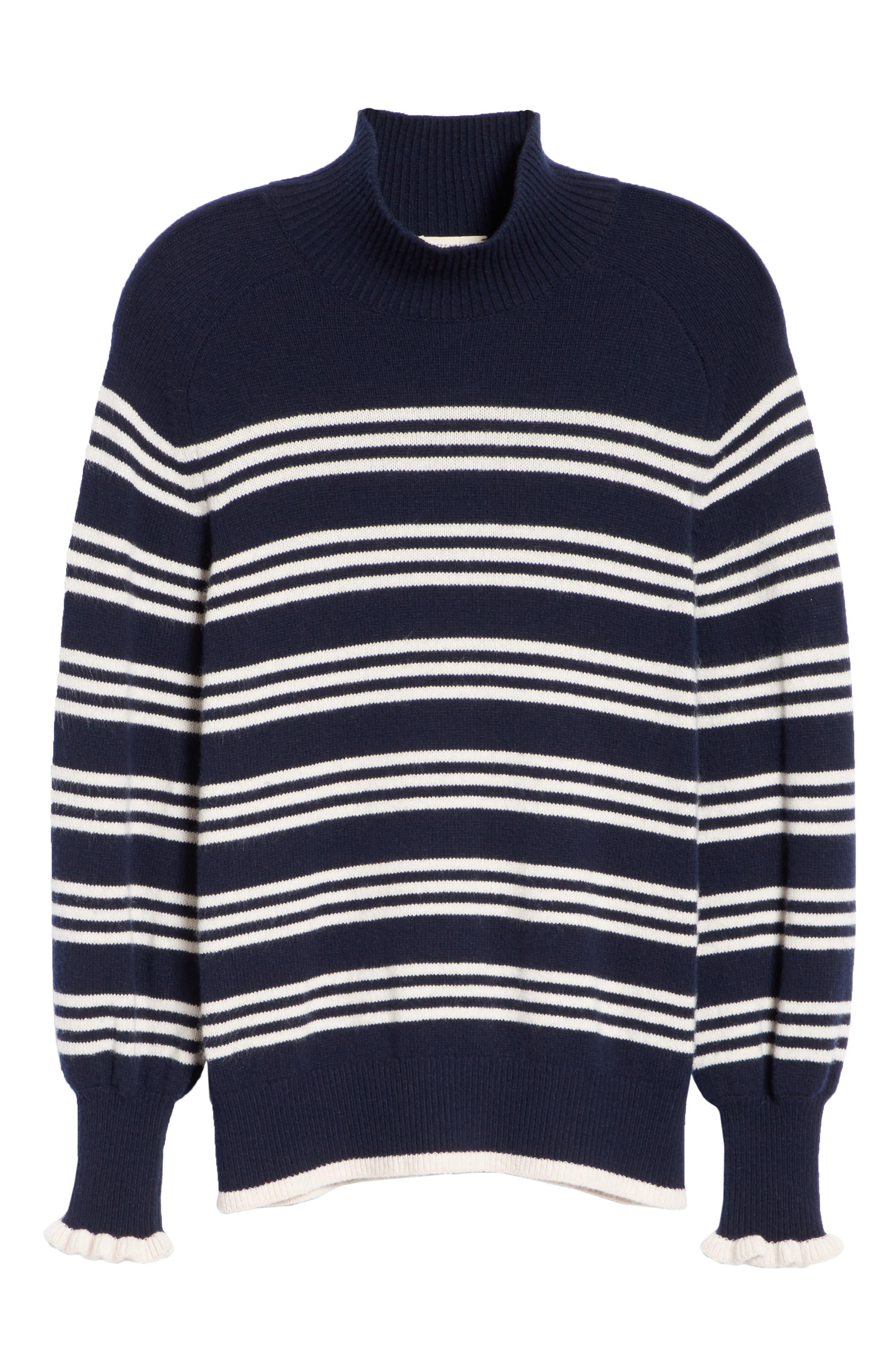 Striped Wool Cotton Blend Blouson Sleeve Sweater,                             Alternate thumbnail 6, color,                             482
