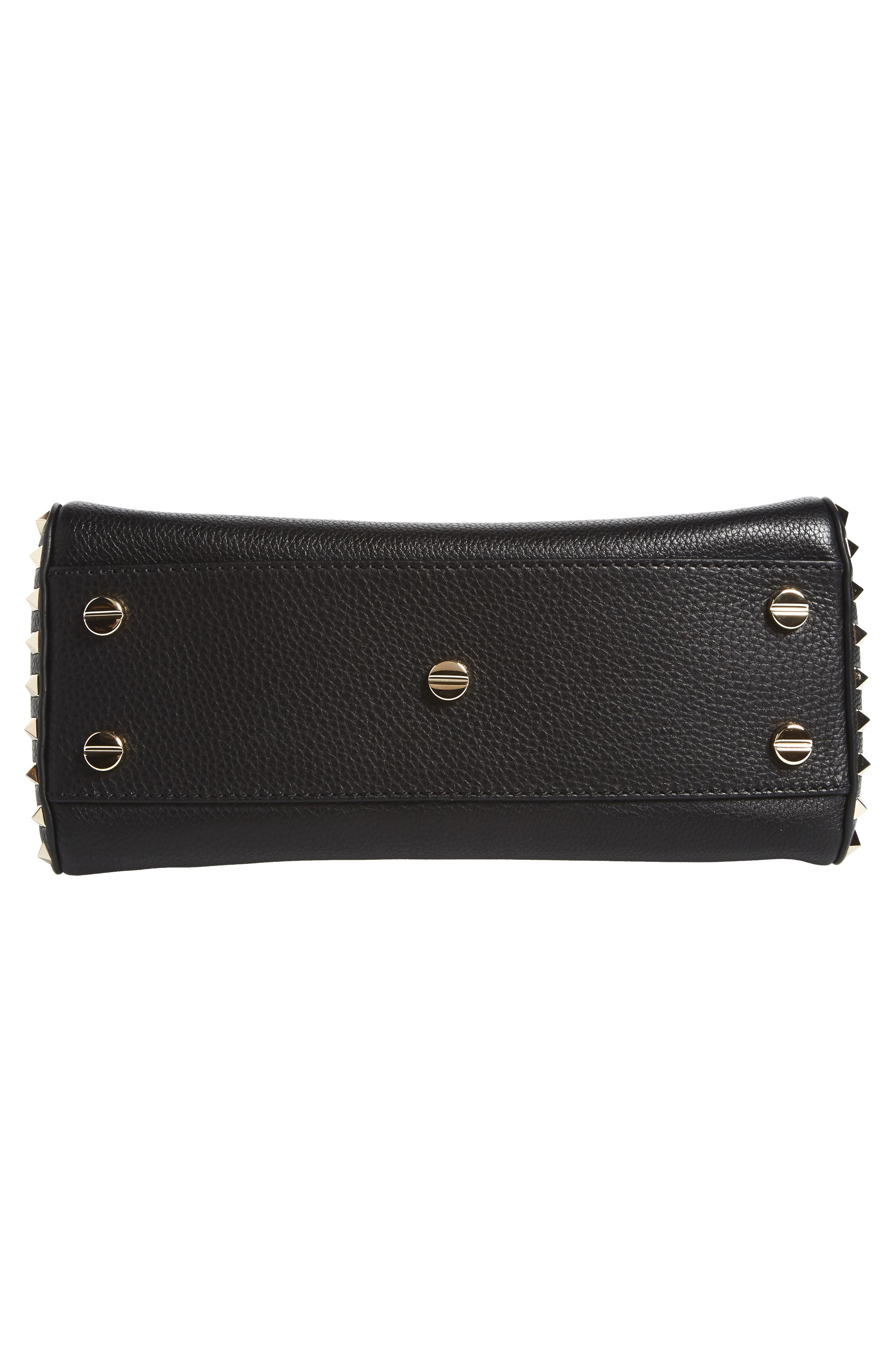 Medium Rockstud Leather Shoulder Bag,                             Alternate thumbnail 6, color,                             001