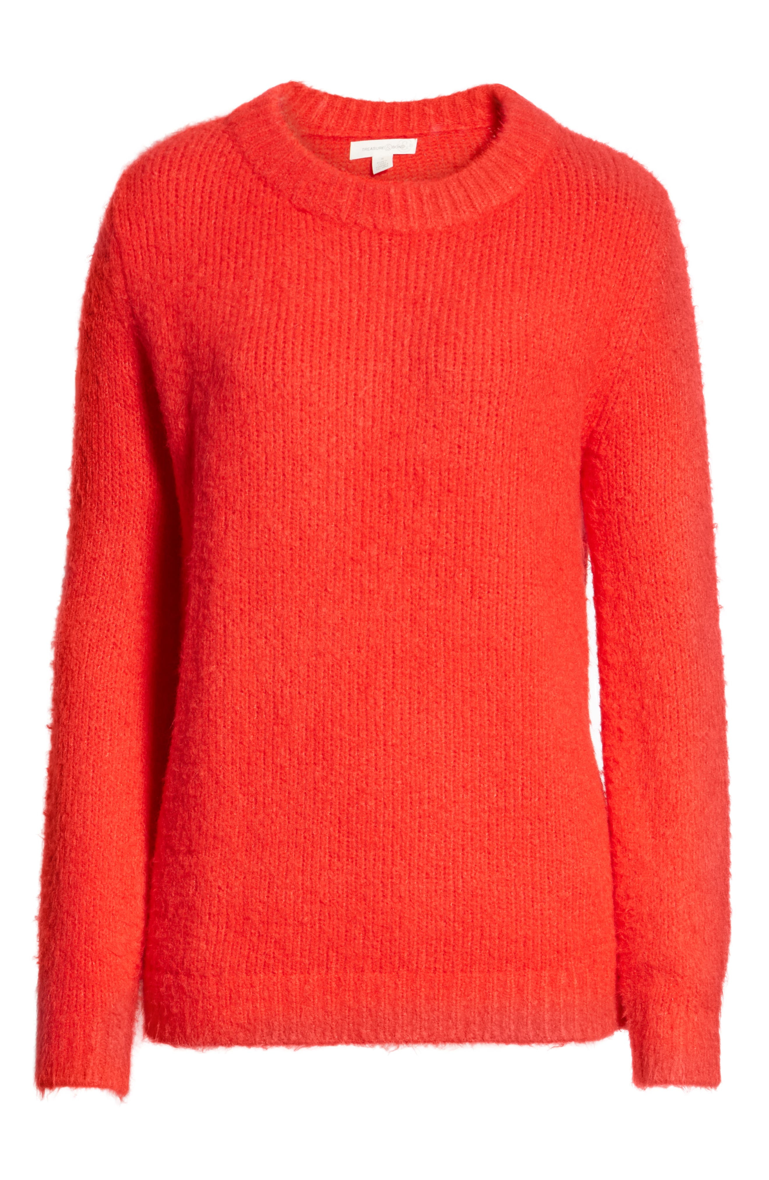 Crewneck Sweater,                             Alternate thumbnail 6, color,                             RED CHINOISE
