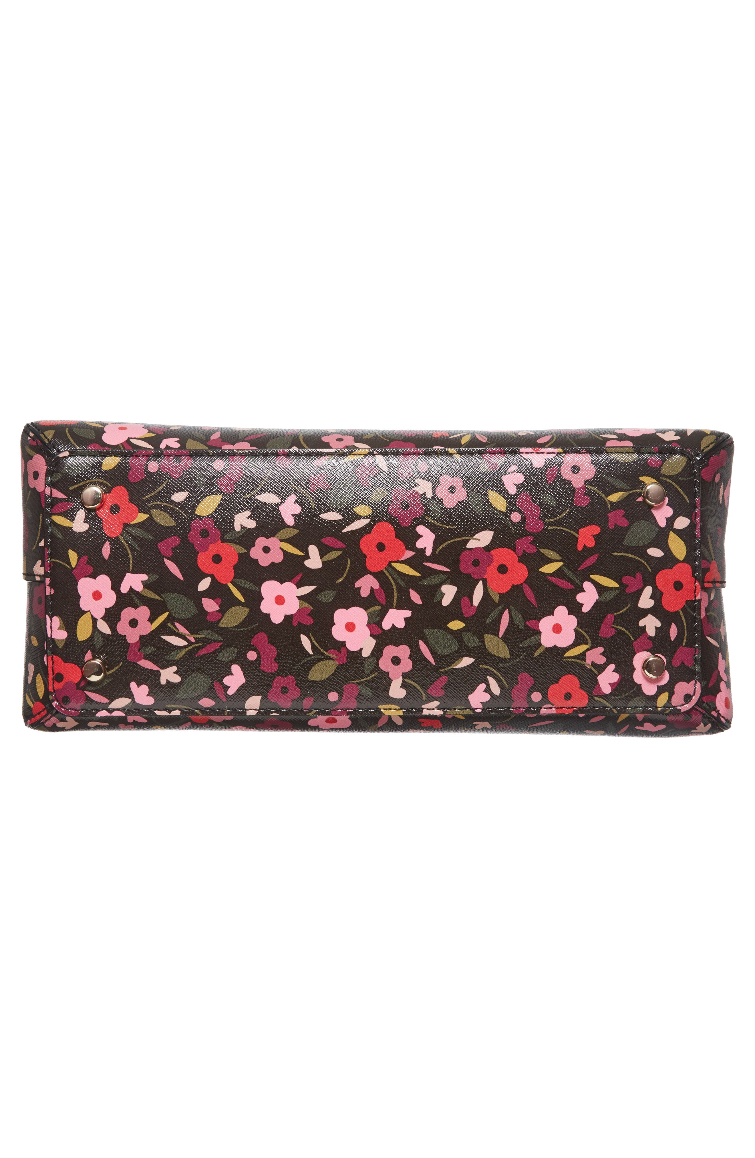 cameron street boho floral- lottie leather satchel,                             Alternate thumbnail 6, color,                             001