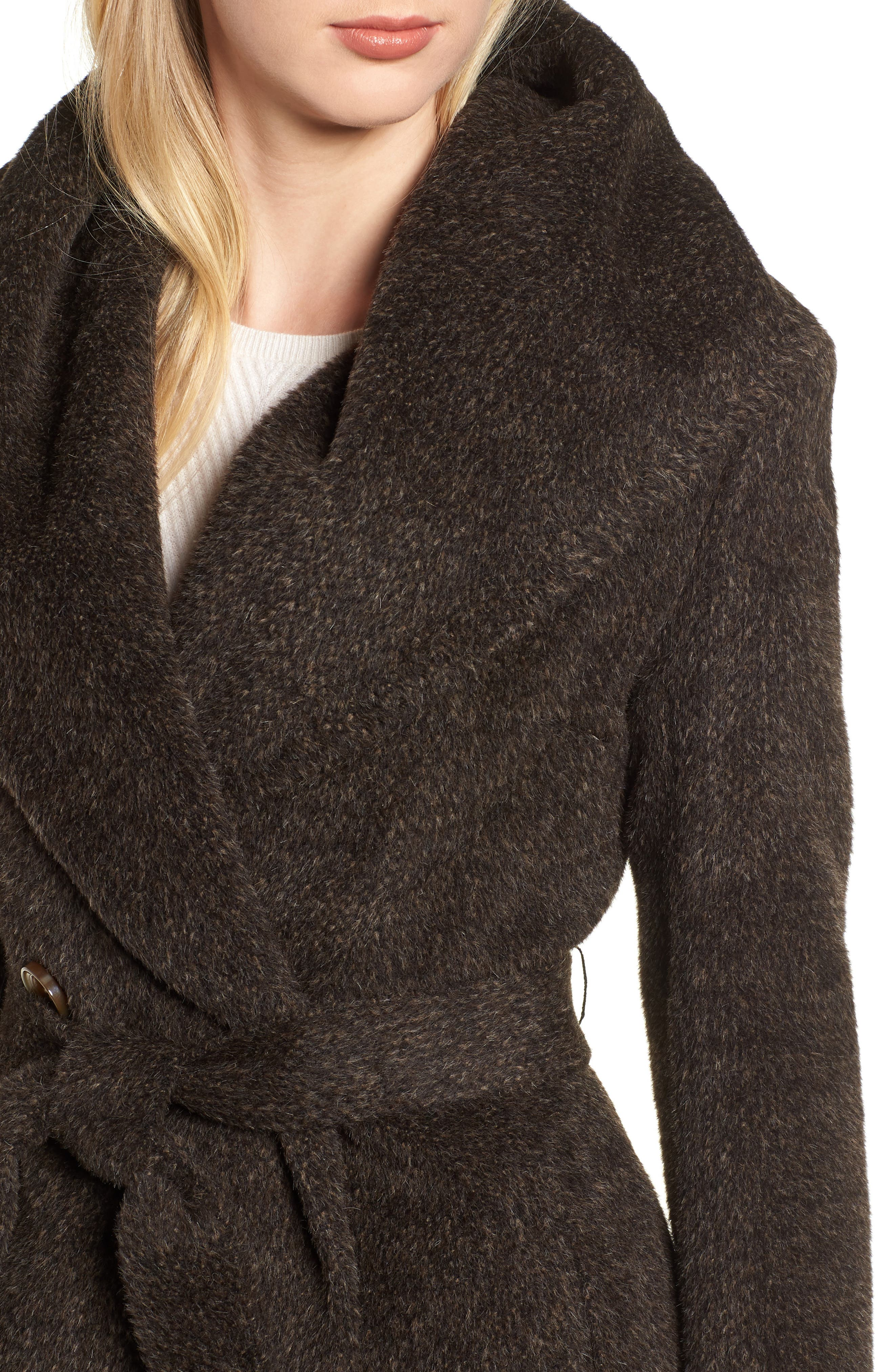Grace Hooded Wrap Walker Coat,                             Alternate thumbnail 4, color,                             BROWN/ BLACK
