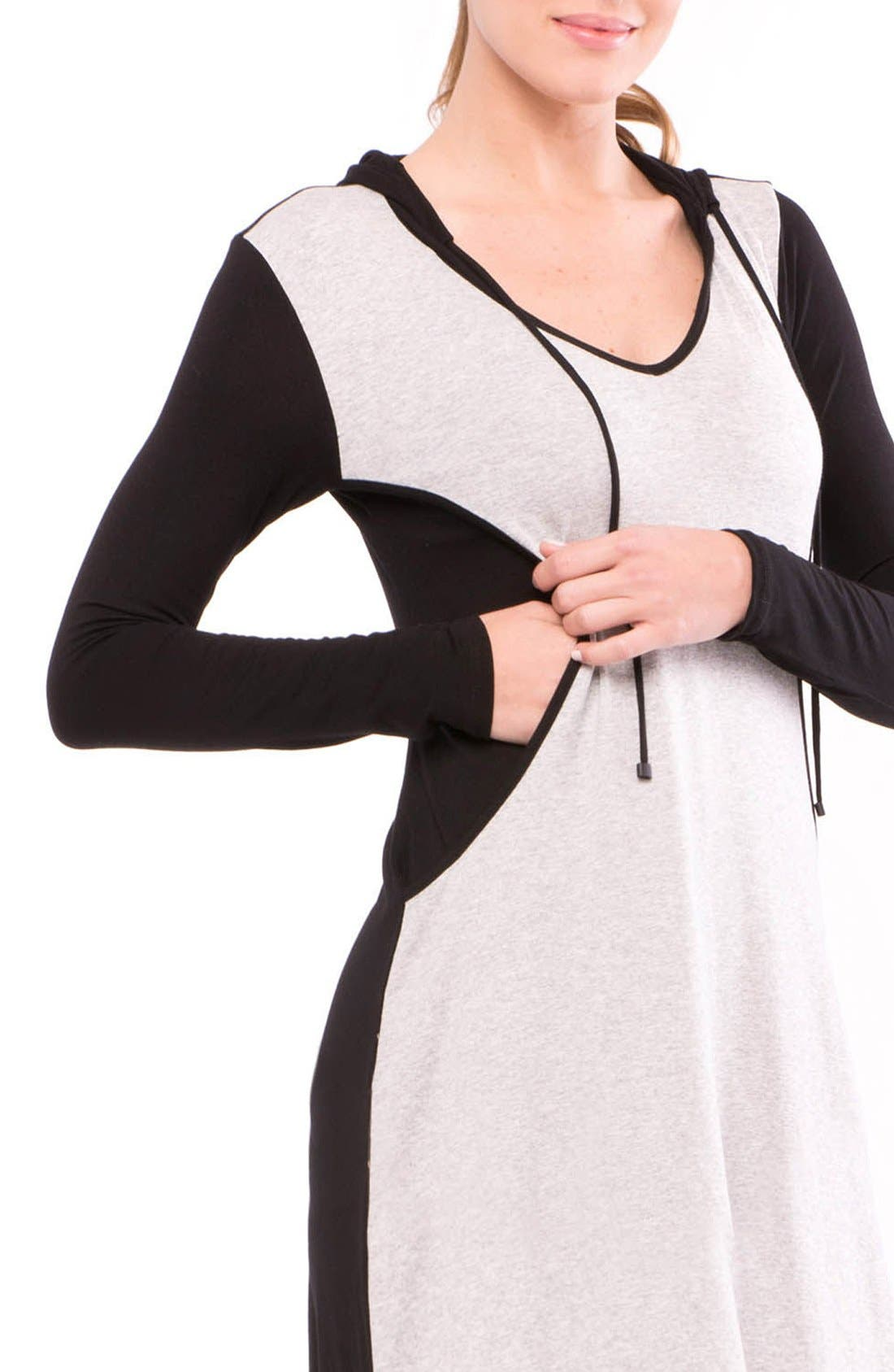 Skye Maternity/Nursing Hooded Tunic,                             Alternate thumbnail 8, color,                             GRAY/ BLACK STRIPE