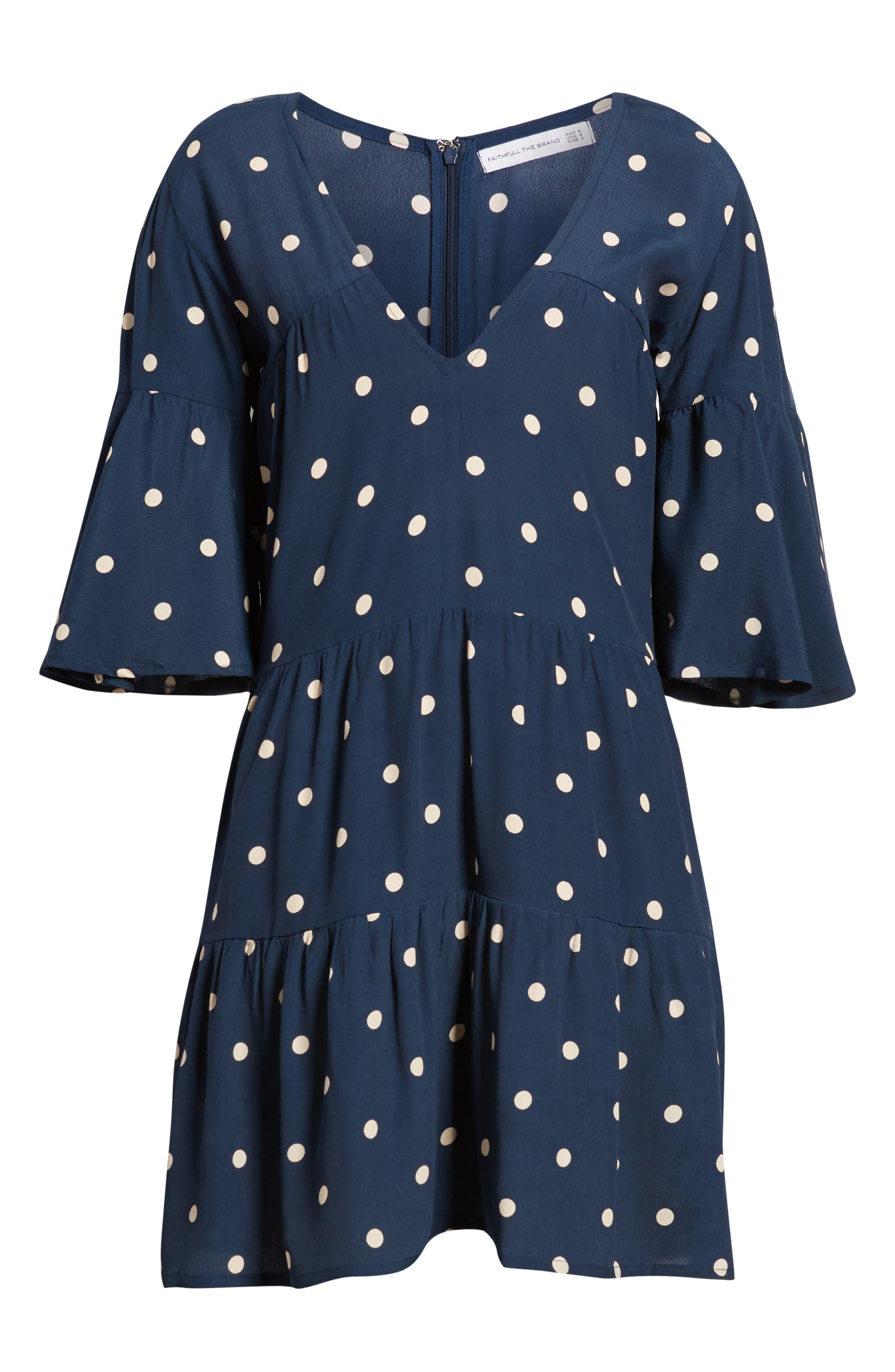 Polka Dot Dress,                             Alternate thumbnail 4, color,                             RONJA DOT VINTAGE BLUE