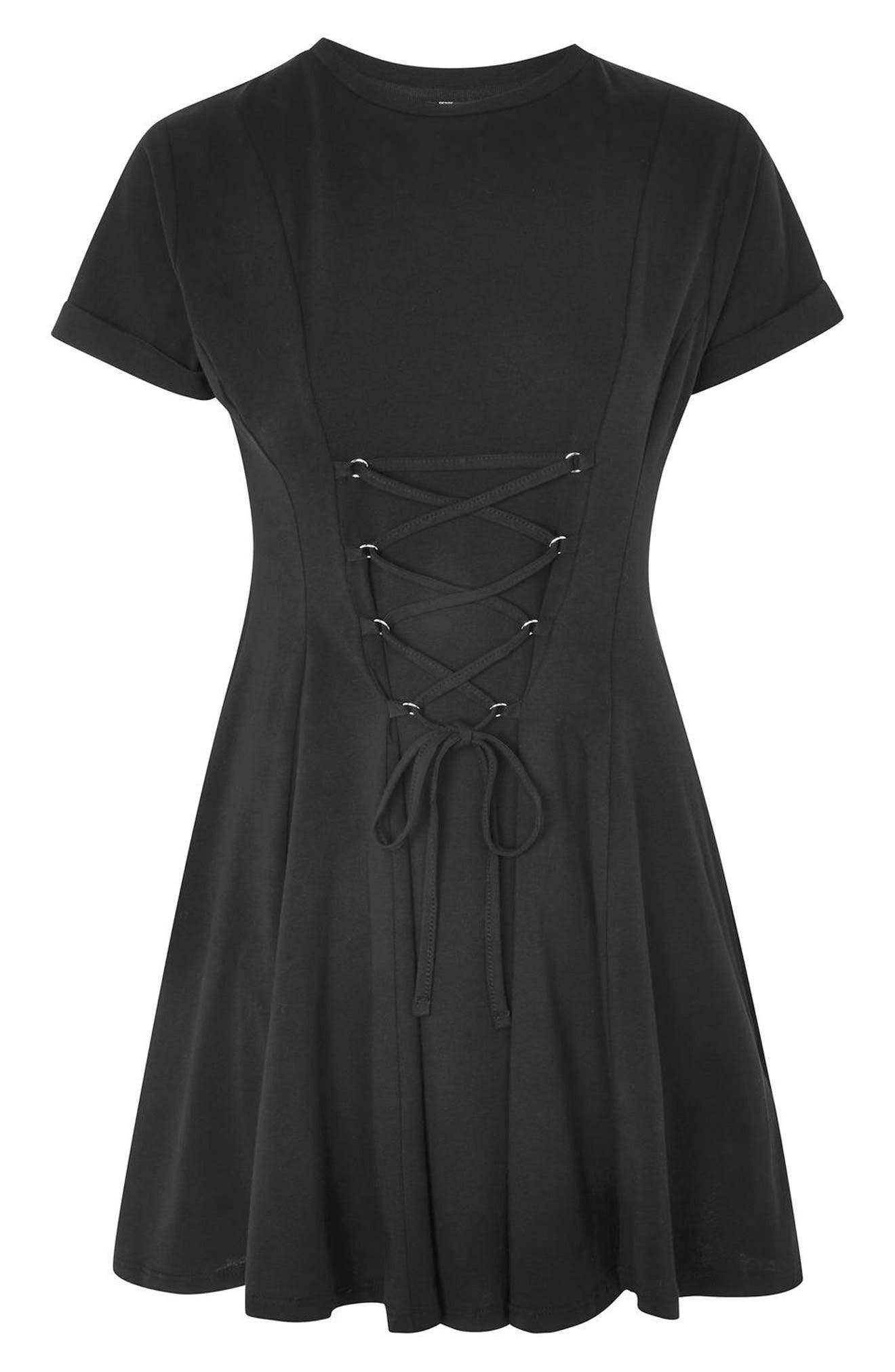 Corset Front Flippy Tunic Dress,                             Alternate thumbnail 7, color,