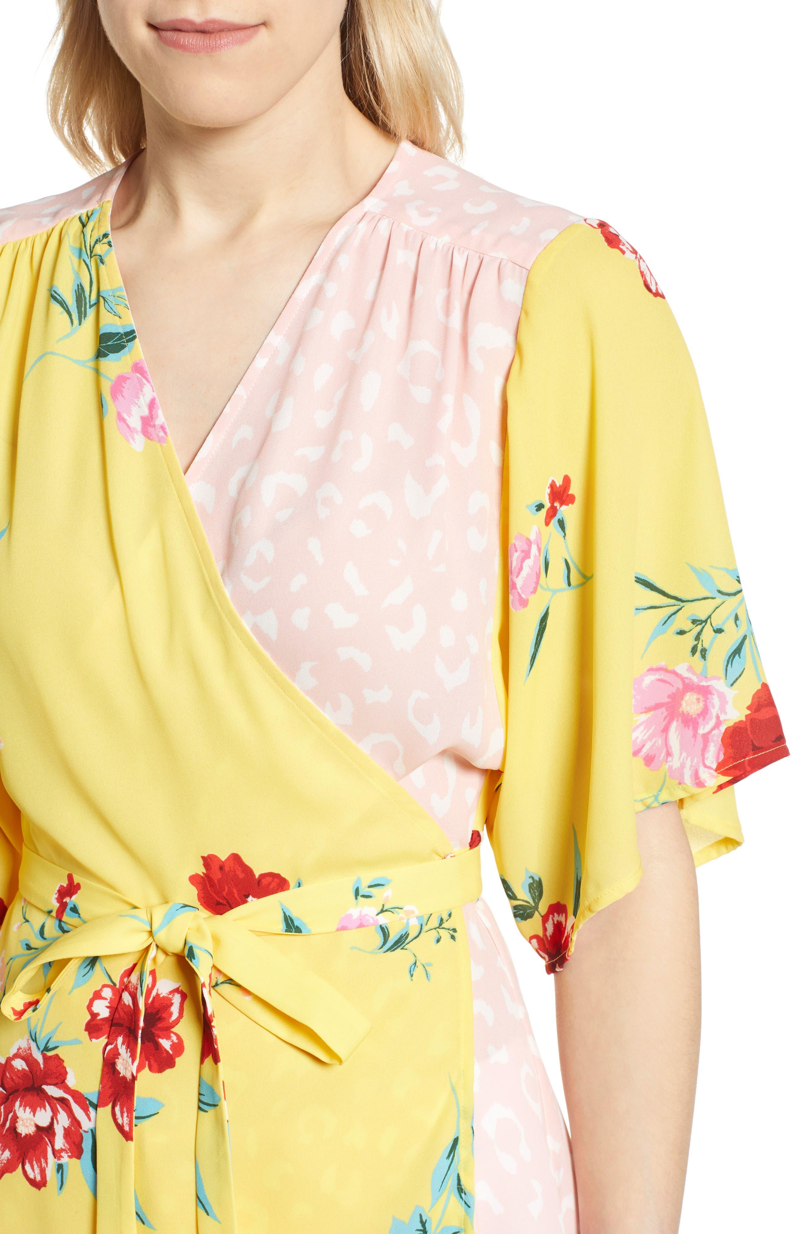 GIBSON,                             x International Women's Day Mindy Kimono Sleeve Wrap Blouse,                             Alternate thumbnail 4, color,                             VIRGINIA BLOOM