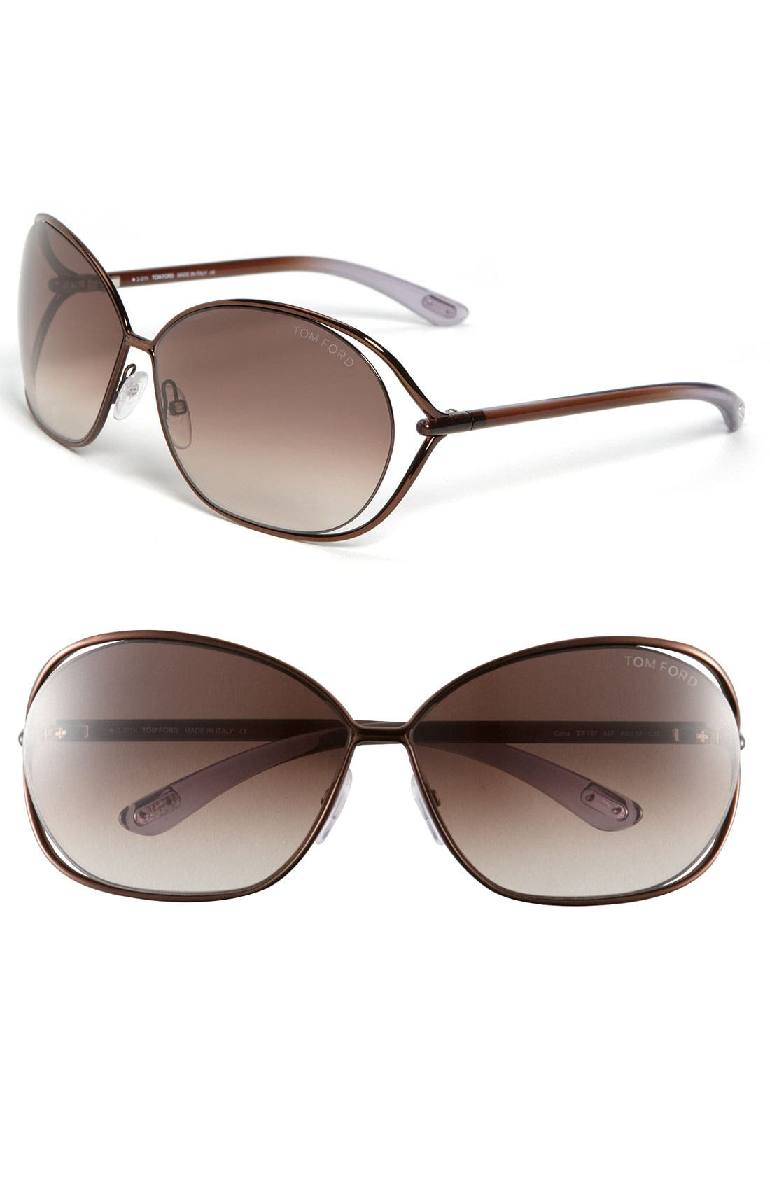 Carla 66mm Oversized Round Metal Sunglasses,                             Main thumbnail 1, color,                             BROWN/ BROWN