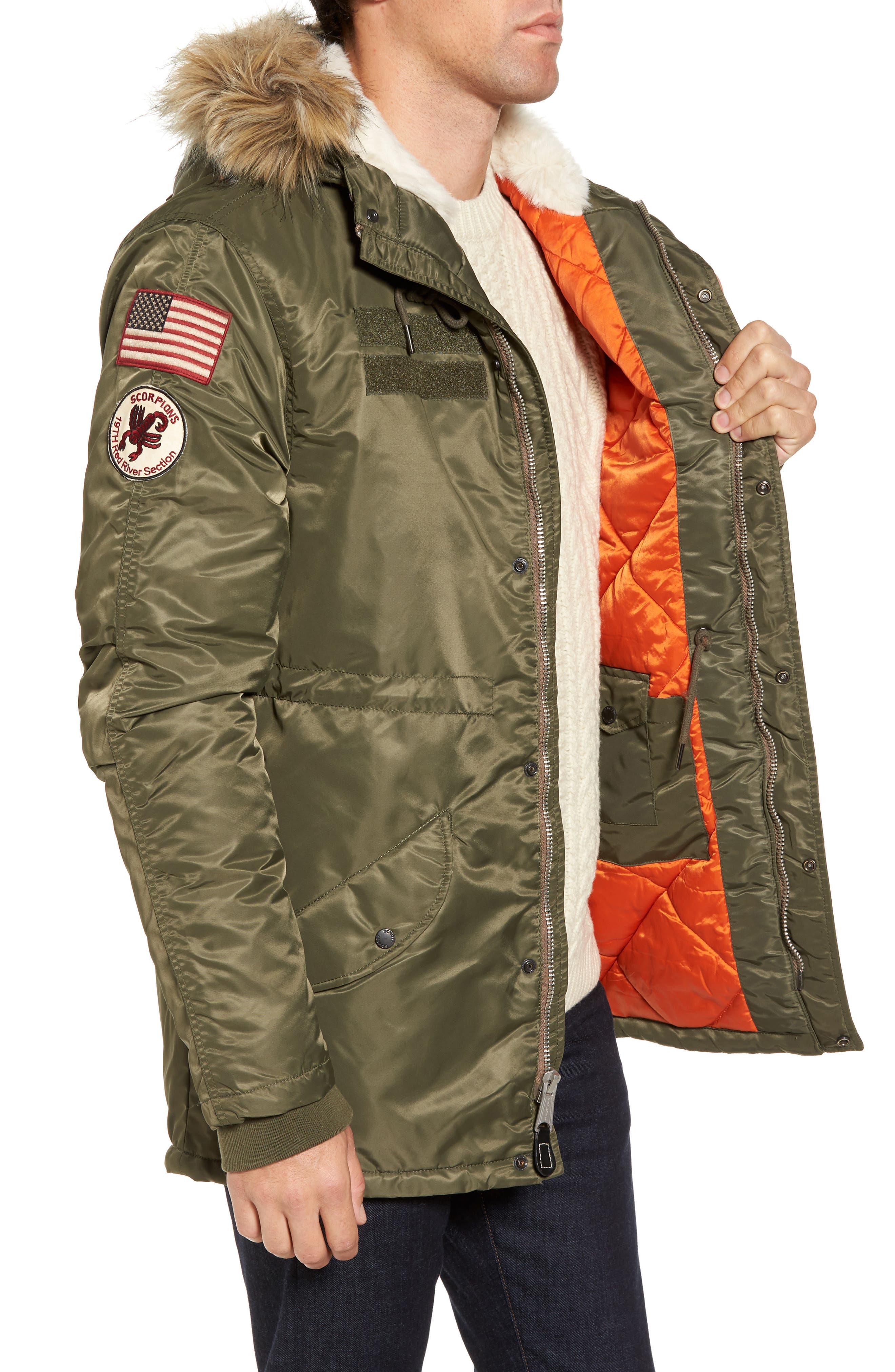 N3-B Snorkel Flight Jacket with Faux Fur Trim & Lining,                             Alternate thumbnail 6, color,