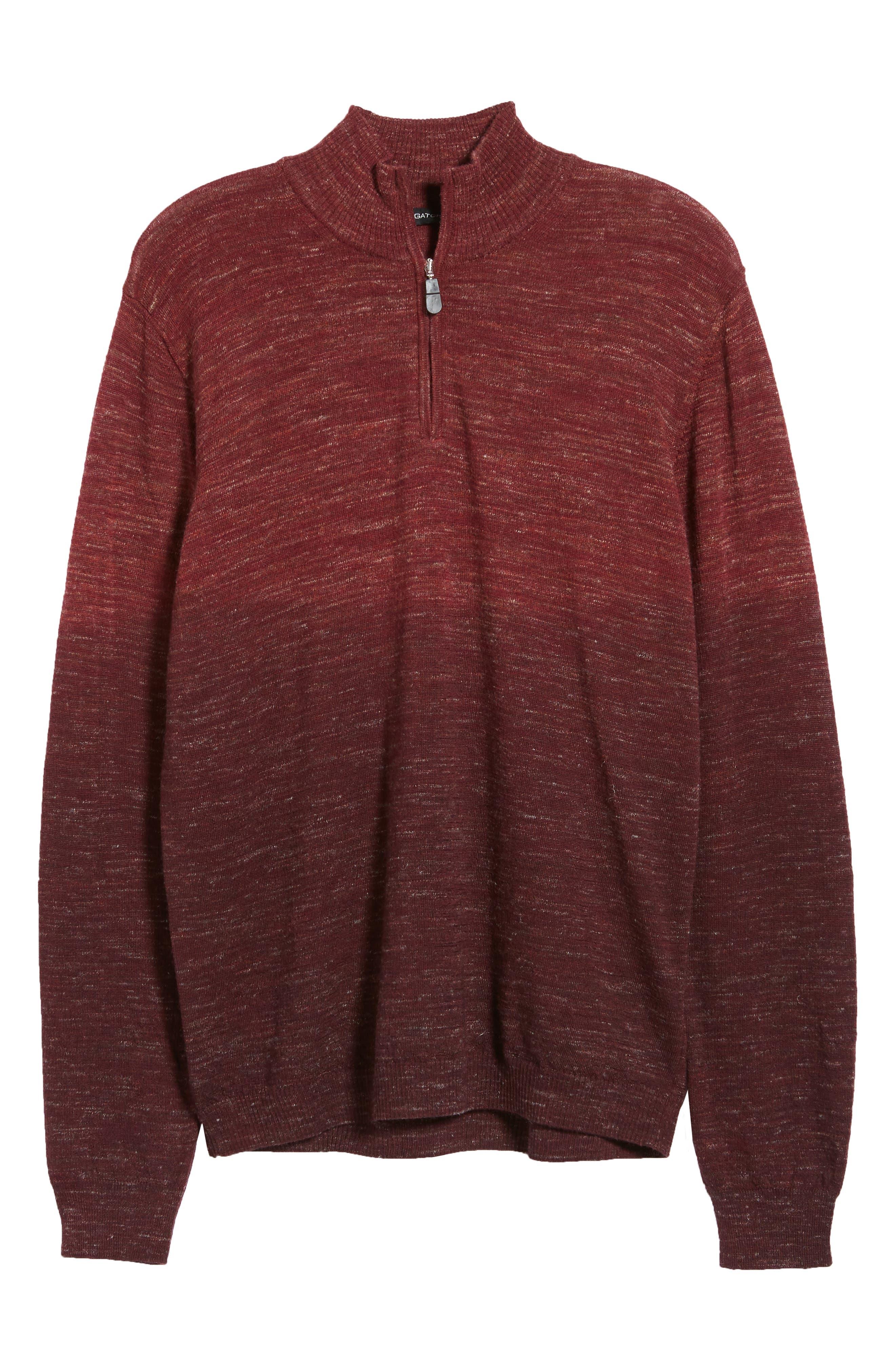 Quarter Zip Pullover,                             Alternate thumbnail 6, color,                             WINE
