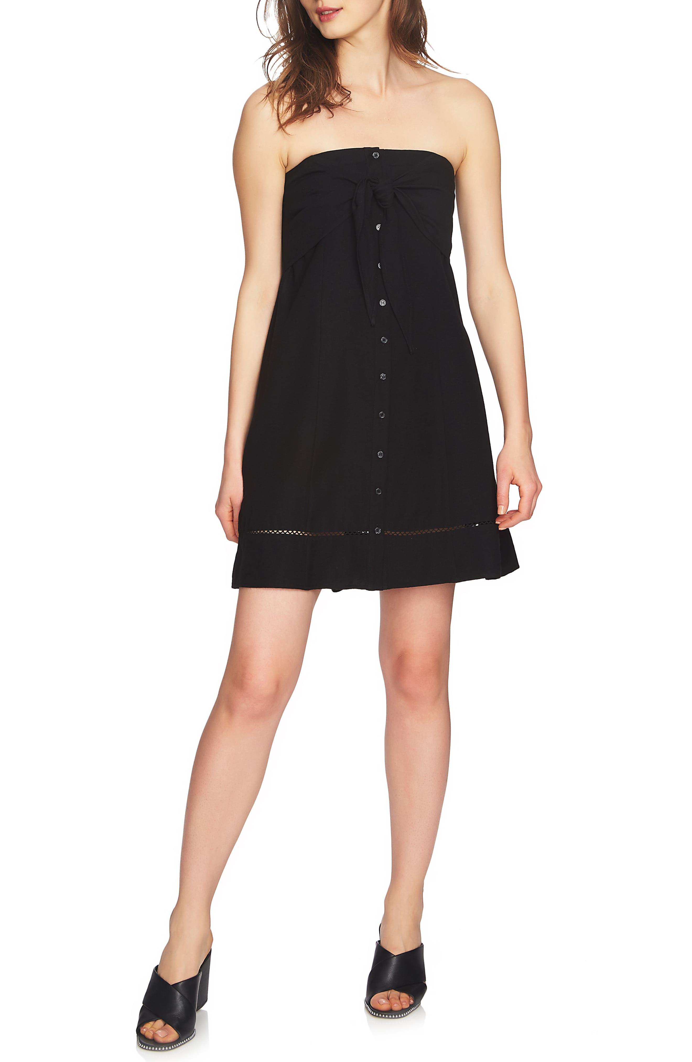 Strapless Tie Front Dress,                             Main thumbnail 1, color,                             RICH BLACK