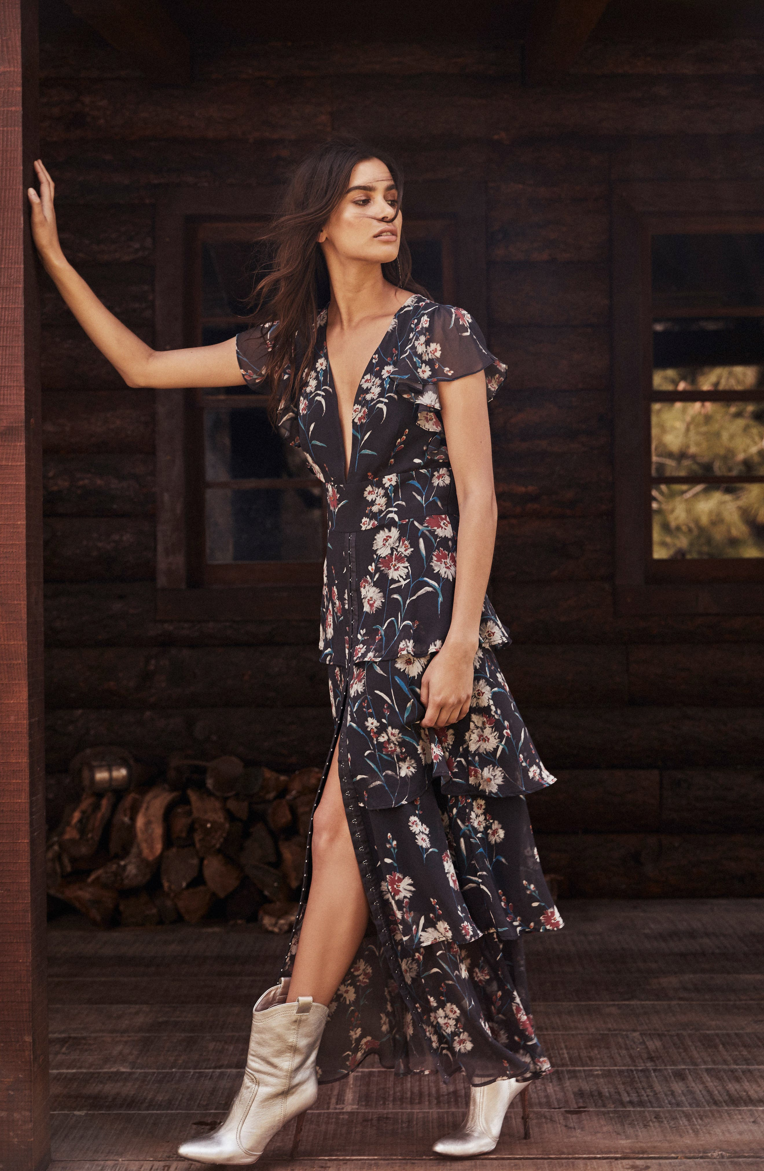 Floral Tiered Maxi Dress,                             Alternate thumbnail 3, color,                             034