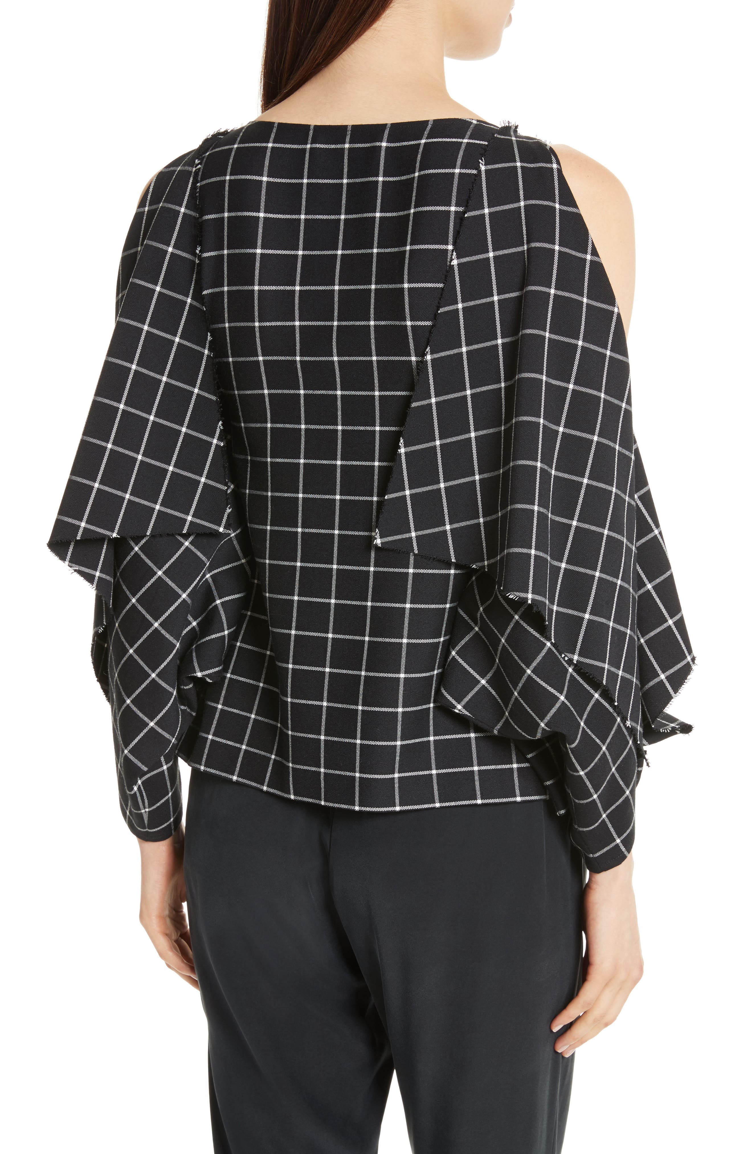 Windowpane Print Cold Shoulder Top,                             Alternate thumbnail 2, color,                             004