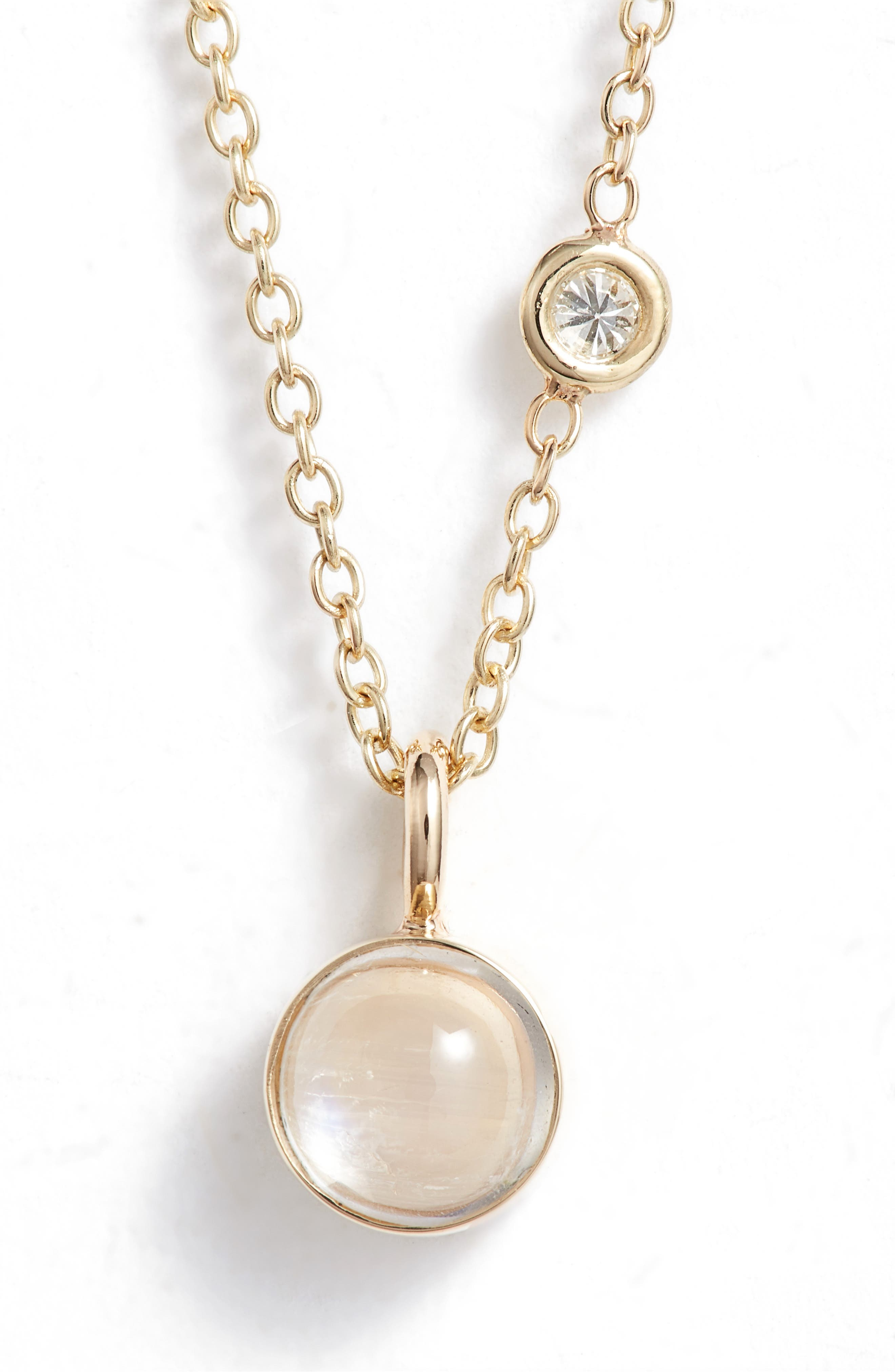 Moonstone & Diamond Pendant Necklace,                         Main,                         color, YELLOW GOLD/ MOONSTONE