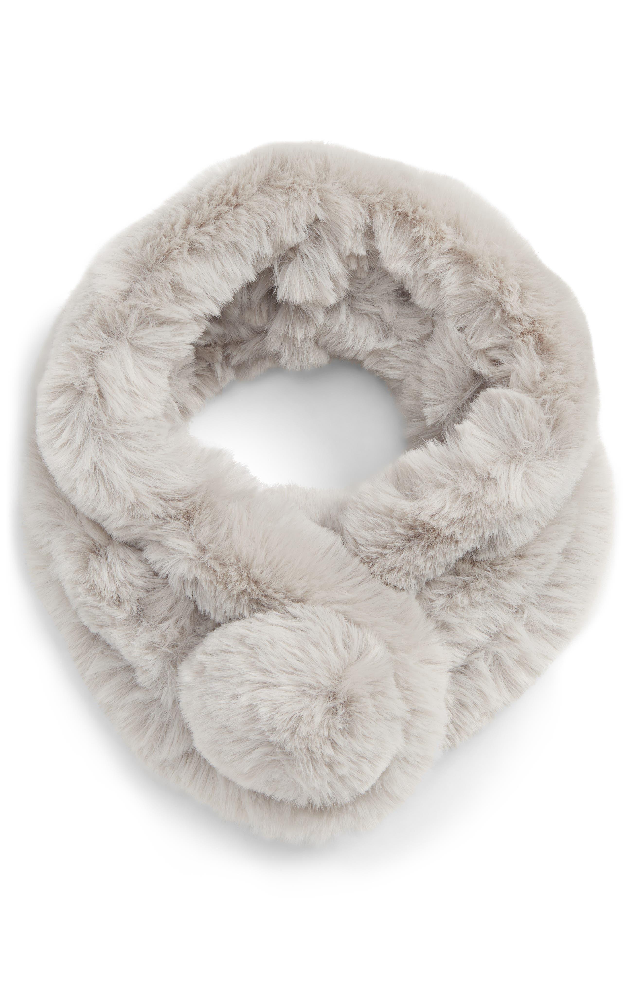 Pom Faux Fur Snood,                             Main thumbnail 1, color,                             GREY