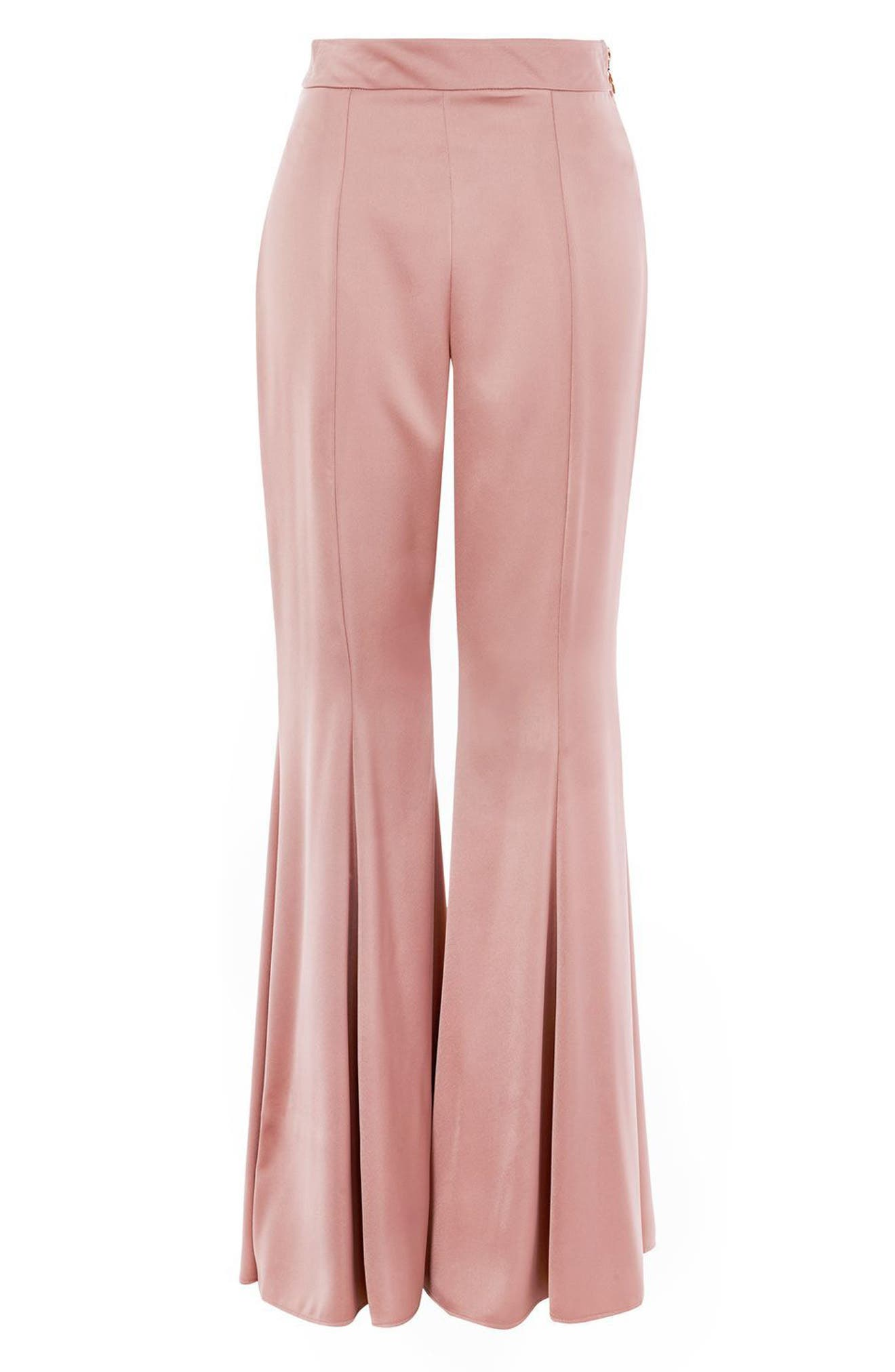 Satin Super Flare Trousers,                             Alternate thumbnail 4, color,