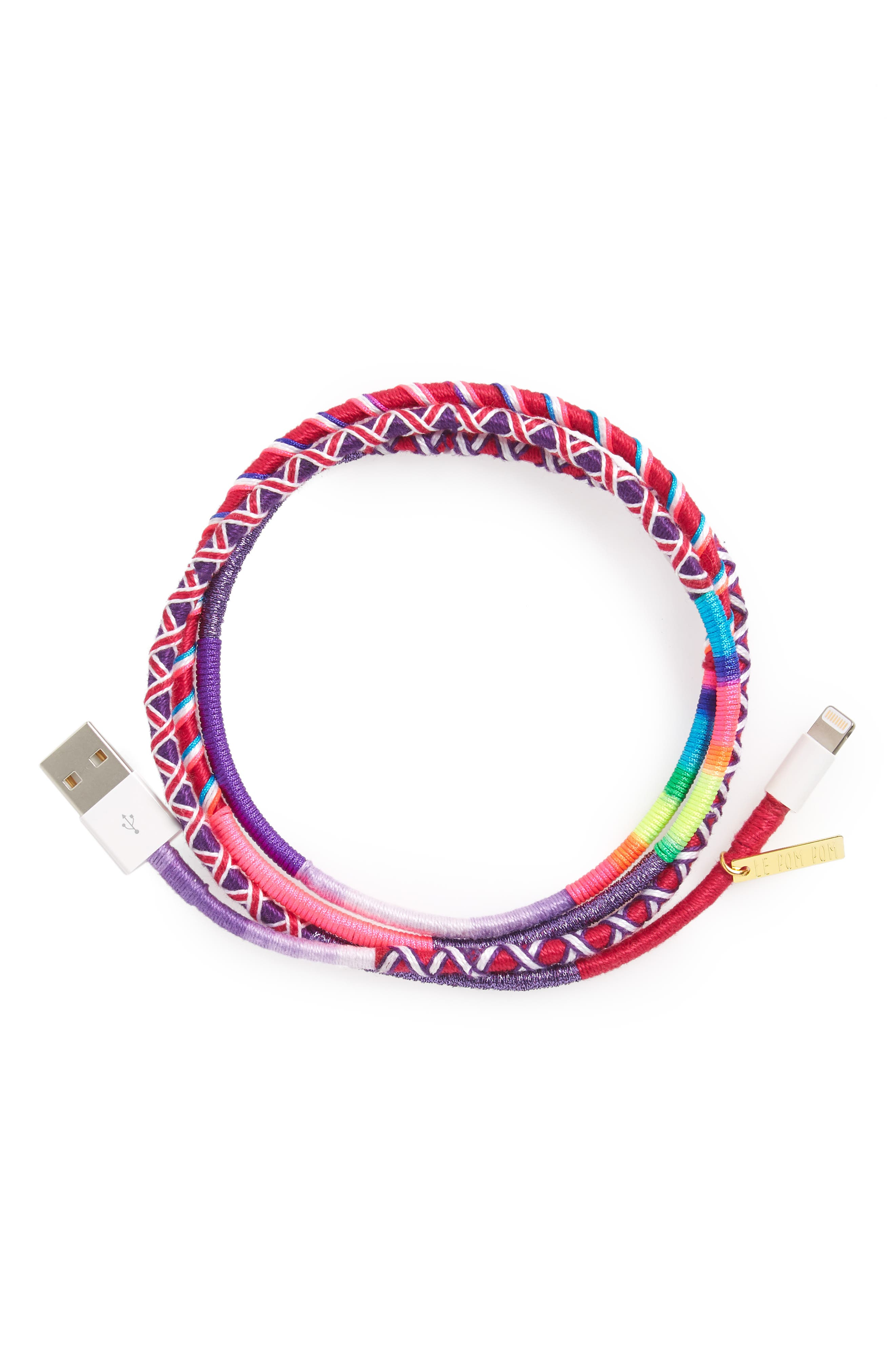 Vicky Hand-Wrapped iPhone Charging Cord,                             Main thumbnail 1, color,
