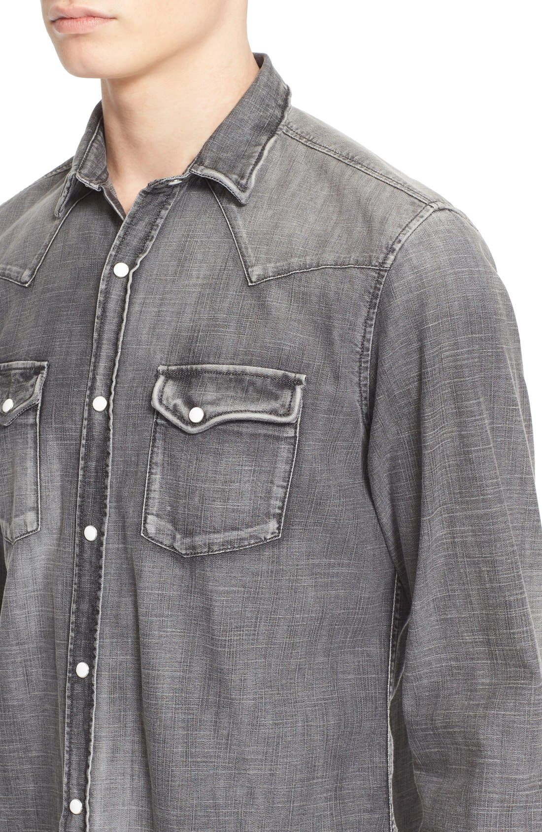 Trim Fit Denim Western Shirt,                             Alternate thumbnail 5, color,                             GREY