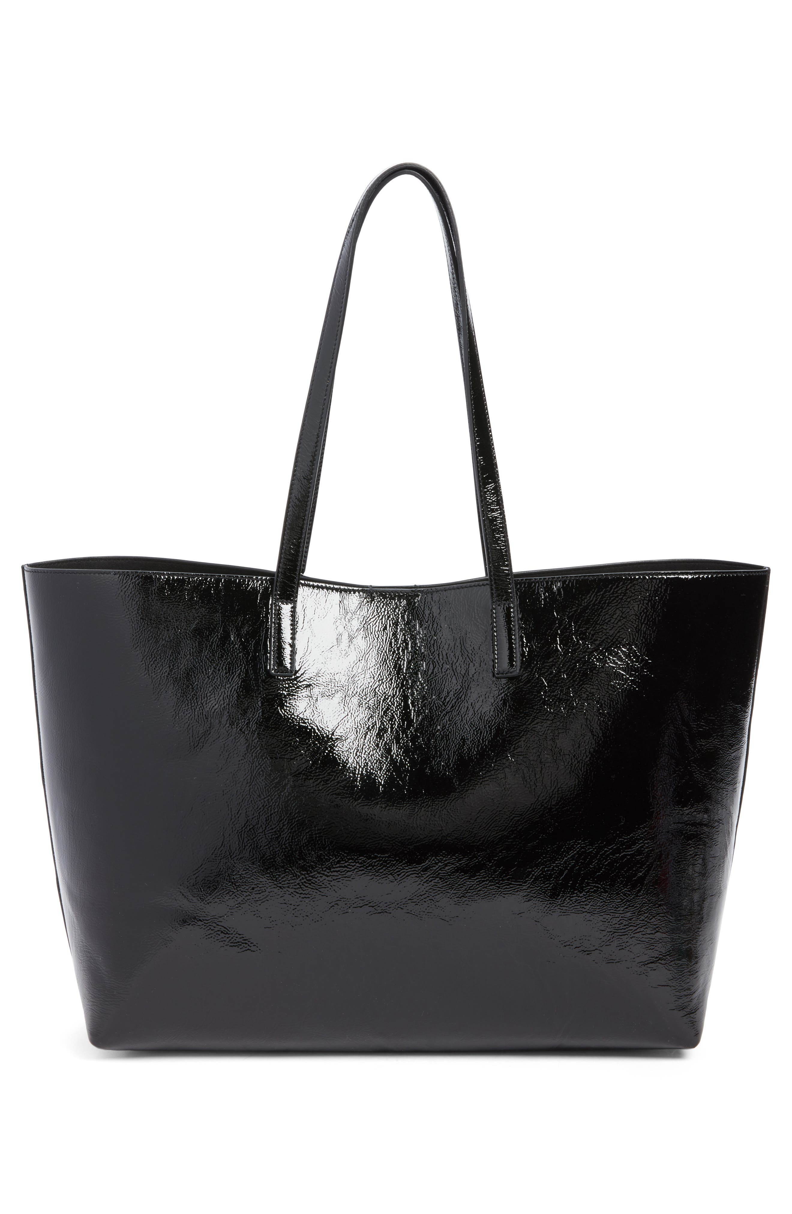 East/West Leather Tote,                             Alternate thumbnail 3, color,                             001
